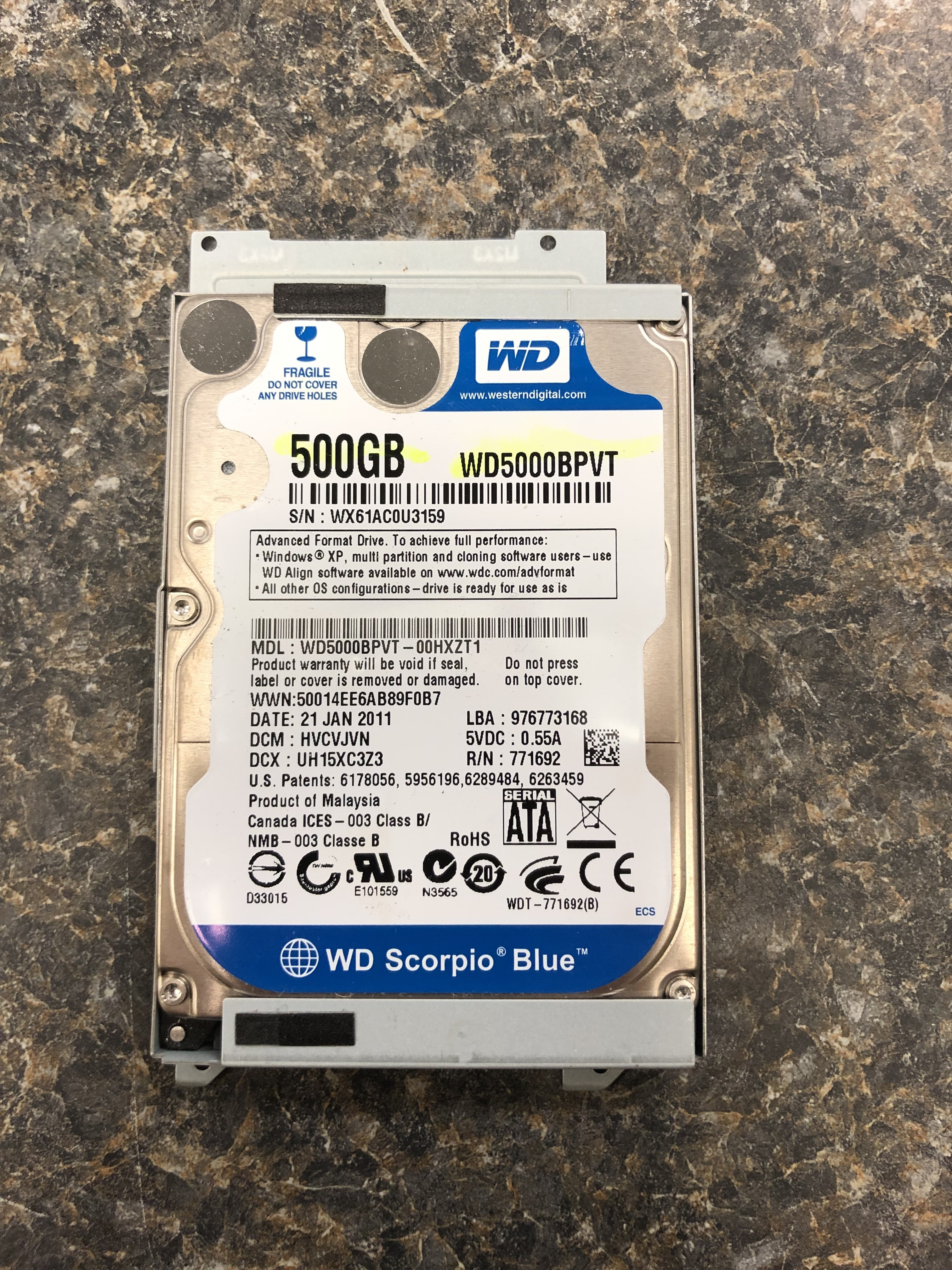 WESTERN DIGITAL - WD5000BPVT - COMPUTER HARDWARE ELECTRONICS