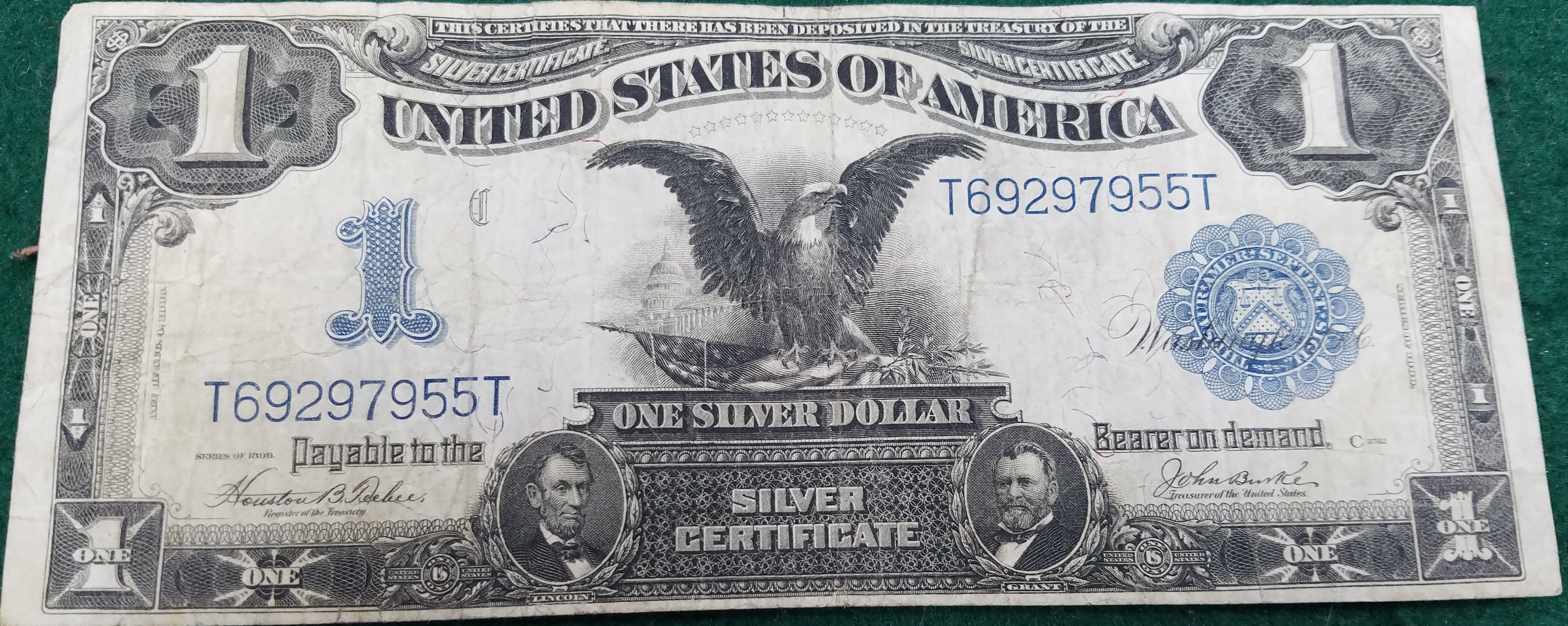 1899 $1.00 BILL BLACK EASGLE SILVER CERTIFICATE LARGE NOTE