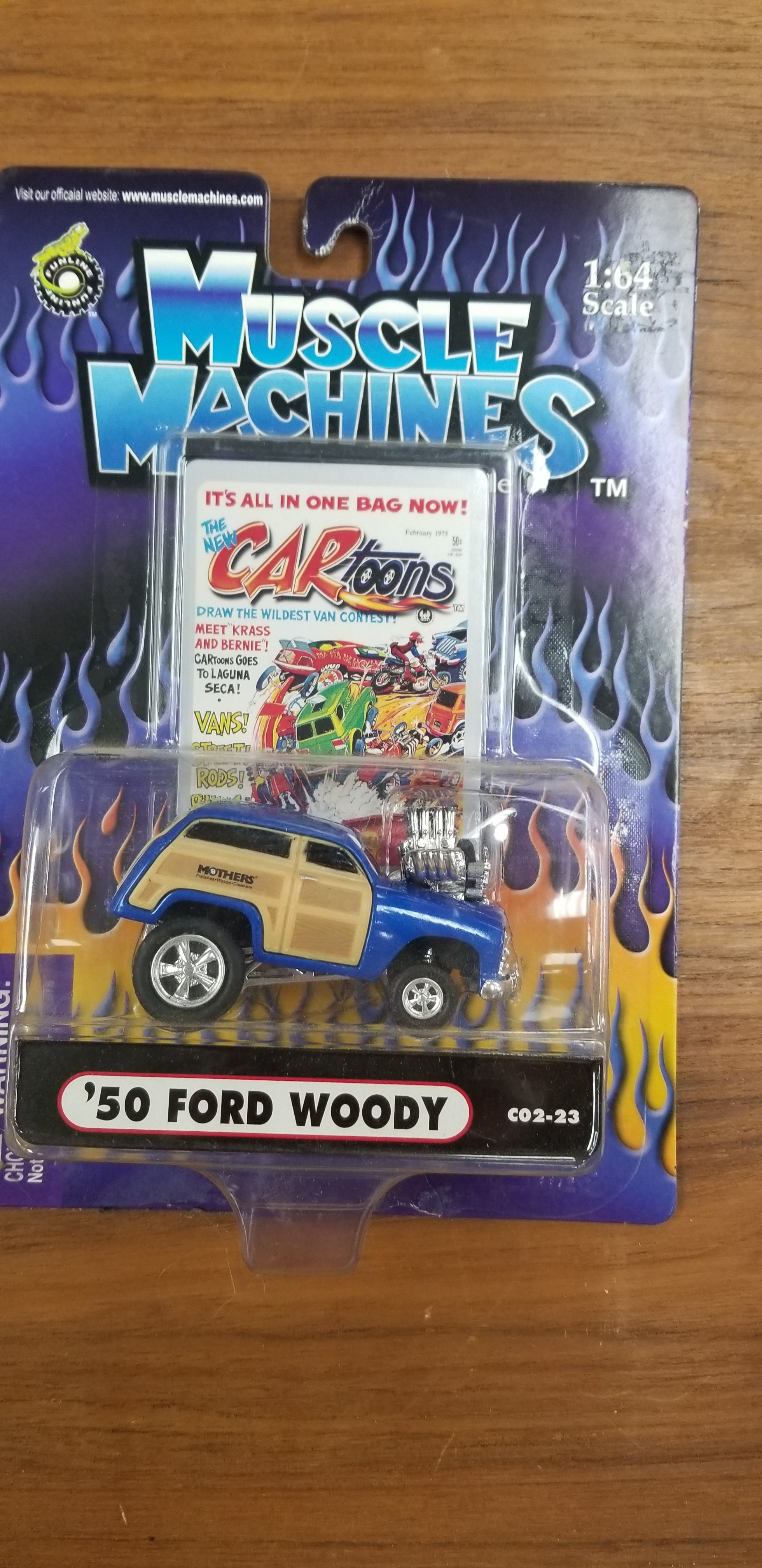 MUSCLE MACHINES CARTOONS '50 FORD MOTHERS WOODY #C02-23 REAL RIDERS BLUE