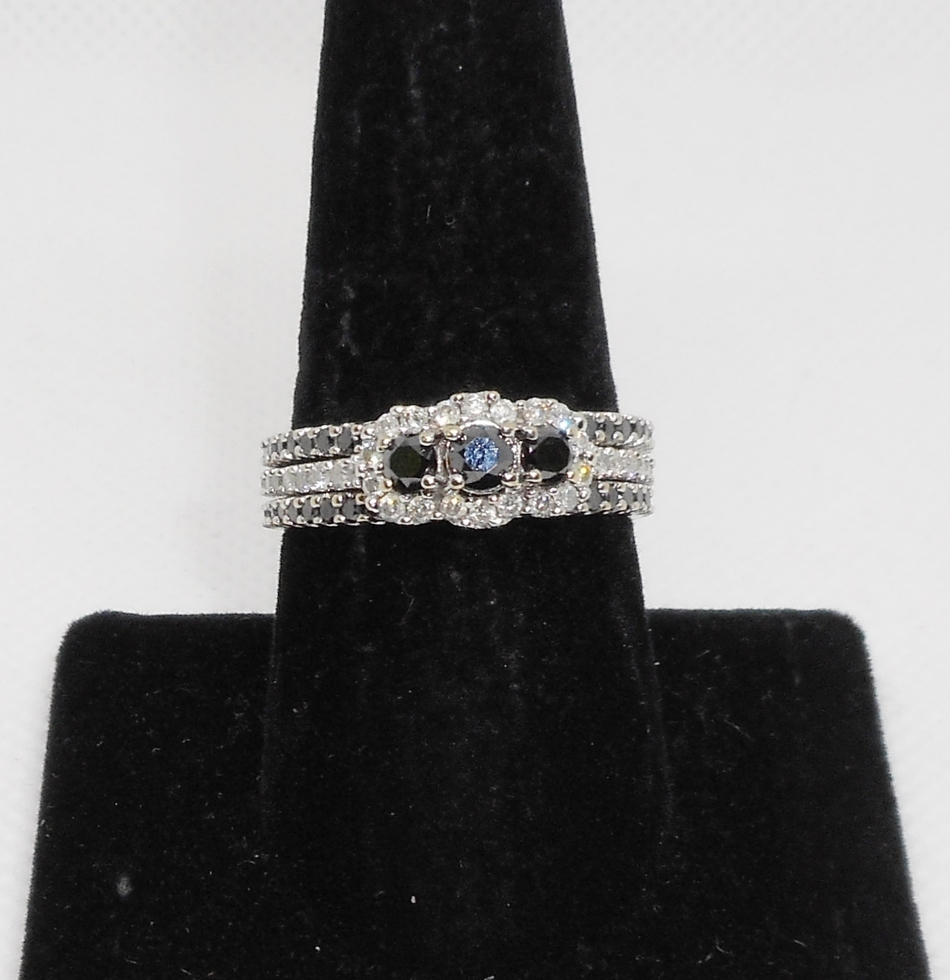 3 Ring Wedding Set with Black Diamonds