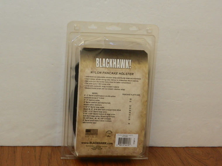 BLACKHAWK AMBIDEXTROUS 3Slot PANCAKE BLACK NYLON HOLSTER SIZE 6 40PC06BK USA