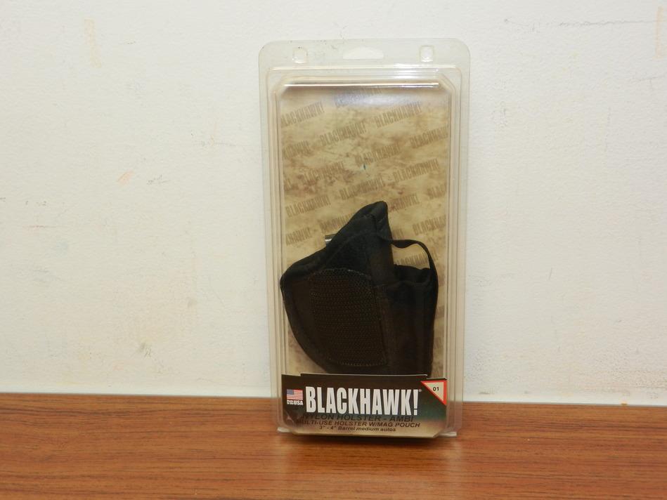 BLACKHAWK! AMBIDEXTROUS NYLON HIP HOLSTER W/ MAG POUCH SZ. 1 40AM01BK