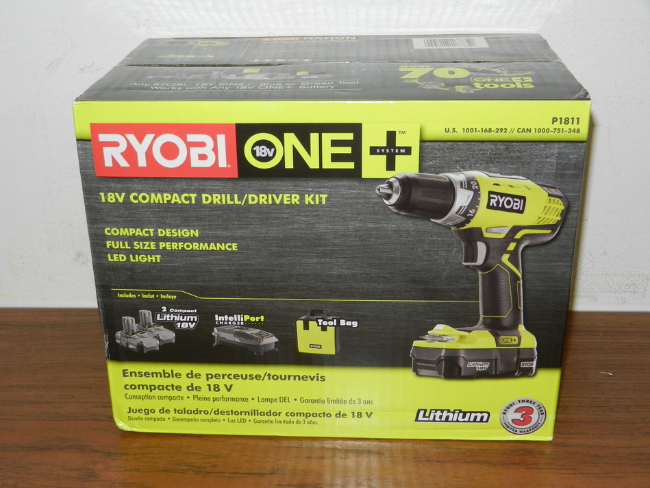 NEW Ryobi 18-Volt ONE+ Lithium-Ion Compact Drill/Driver Kit - (Model P1811)