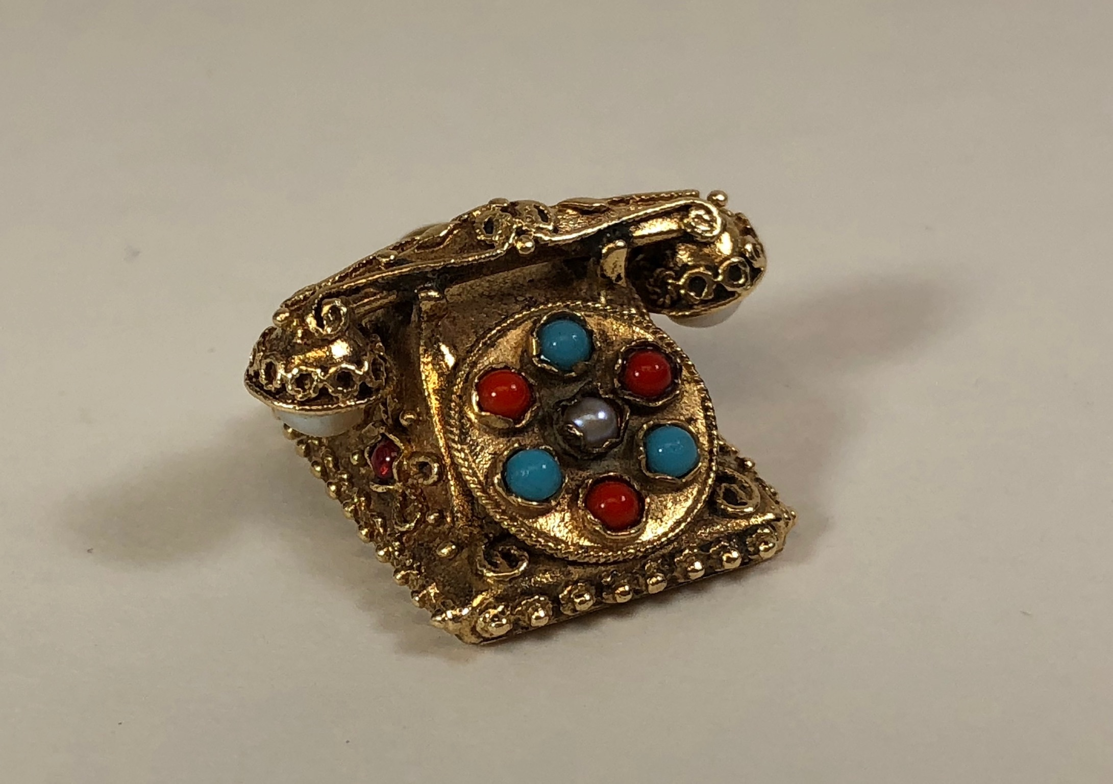 Vintage Rotary Phone 14K Gold Victorian Etruscan Revival Bejeweled 3D Charm