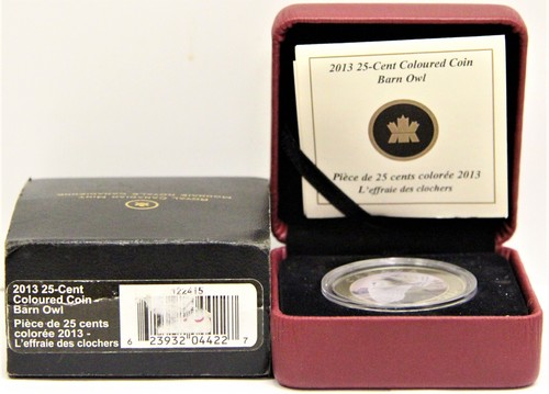 2013 Royal Canadian Mint 25 cent Barn Owl Coloured Coin with box and COA