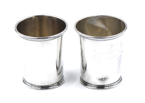 Two Vintage Mint Julep Cups Tapered Reeded Rim Sterling Silver Kirk