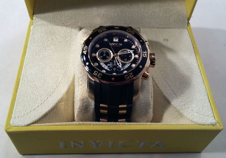 Men's Invicta Pro Diver Model 6981 Gold Tone Chronograph Watch