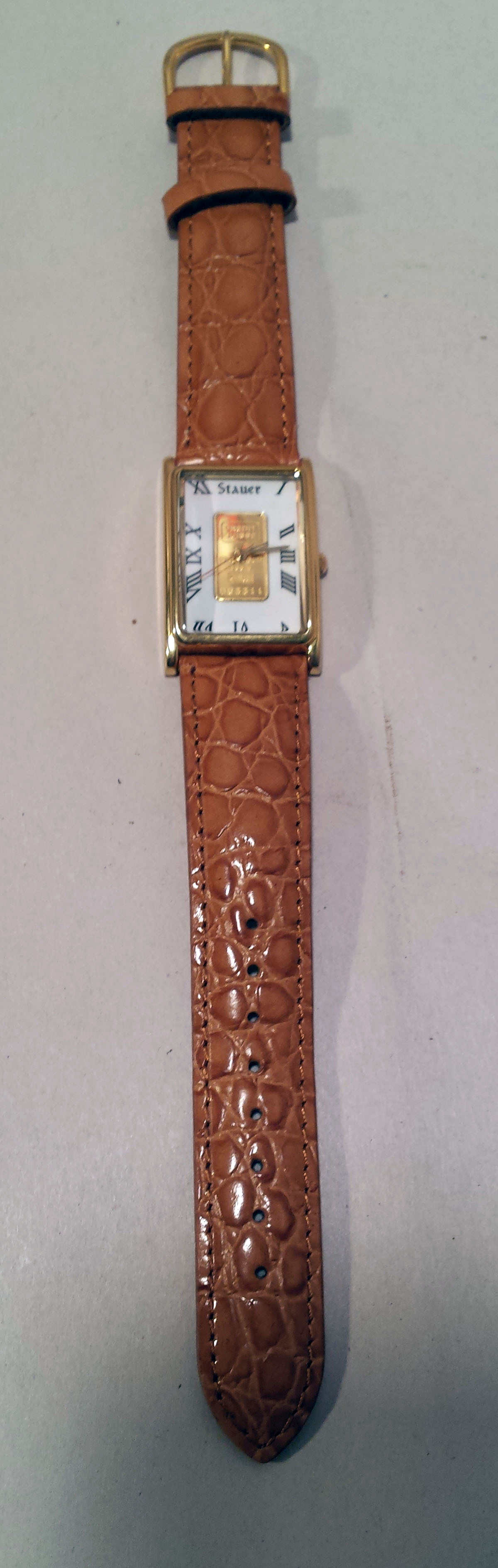 Stauer Credit Suisse 1 Gram 999.9 Pure Gold Bar Ingot Women's Watch Working