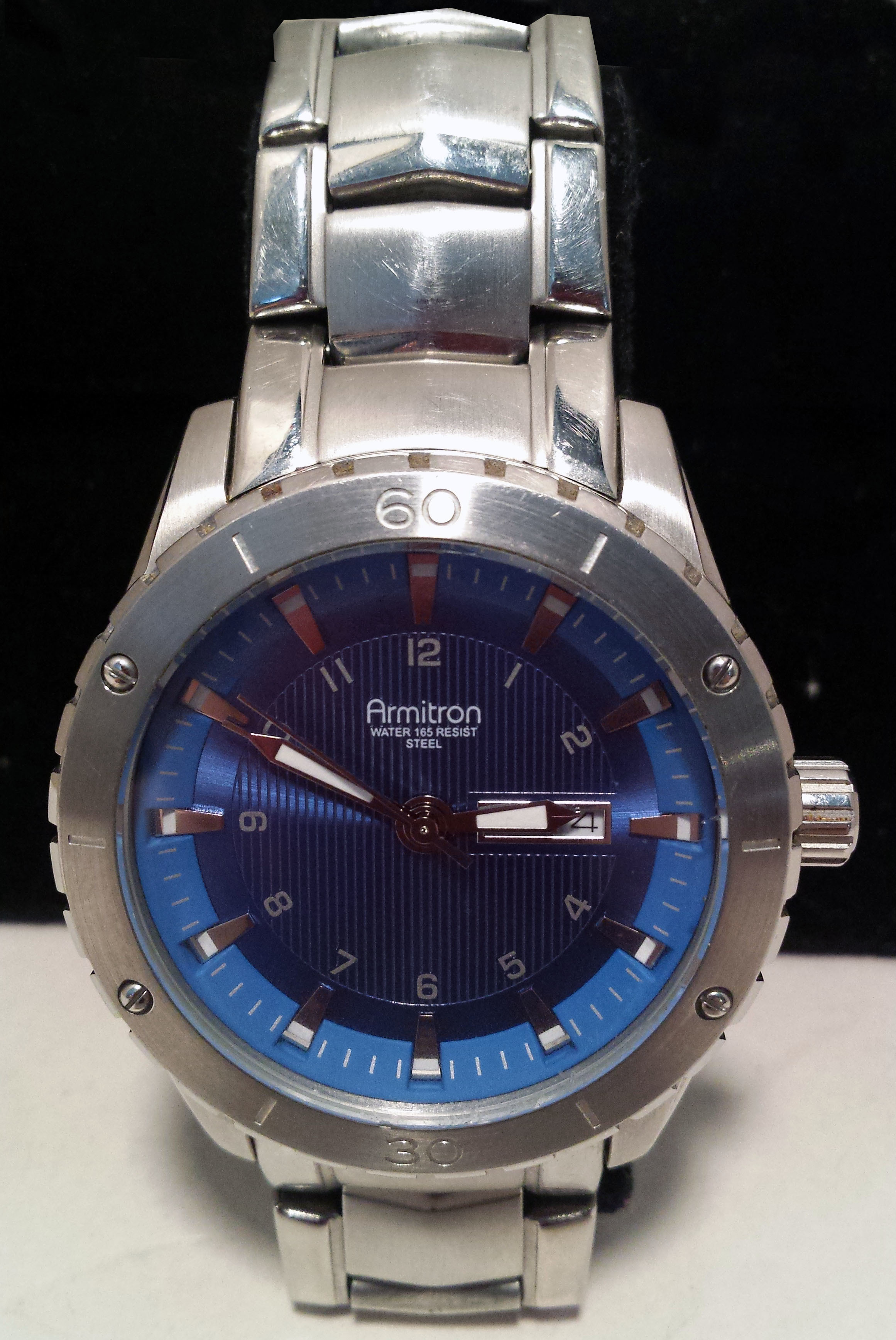 Armitron Mens Watch 20/4834SV GM00 Blue Face 5 ATM - Needs Battery