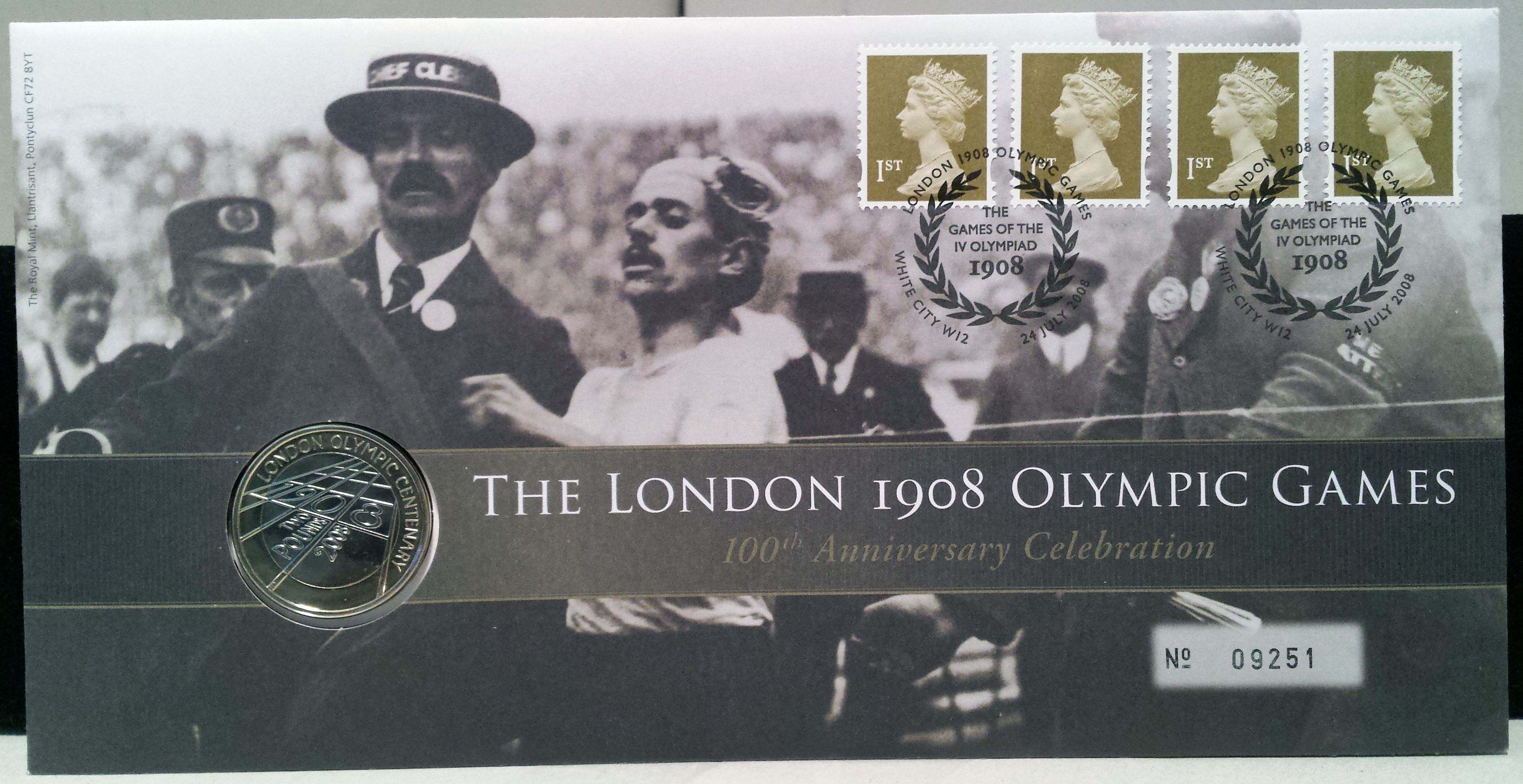 LONDON 1908 OLYMPICS 100TH ANIV 2008 ROYAL MINT COVER