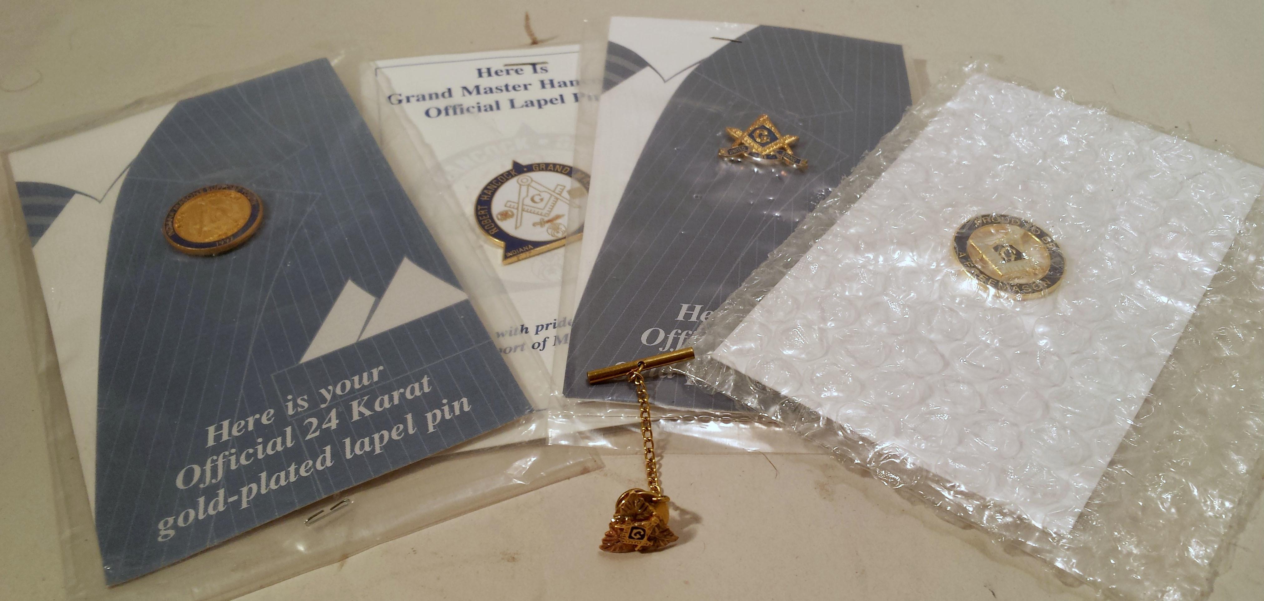 Indiana Masonic Freemason Pin set LOT of 5 Pins 24 Karat Plated