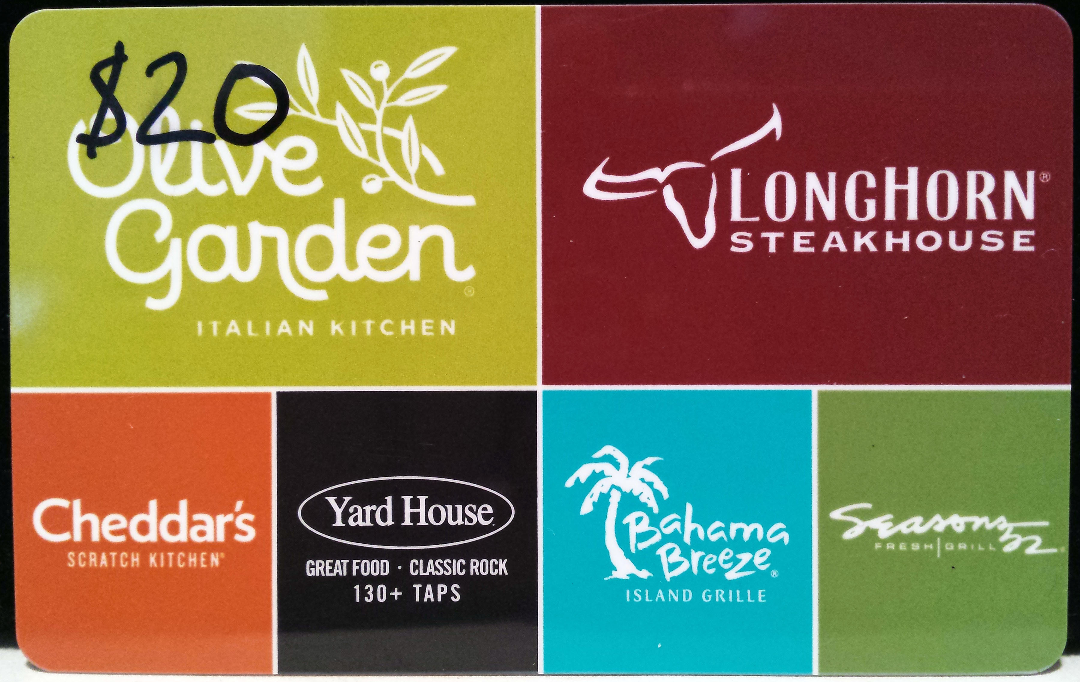 DARDEN $20 Gift Card Olive Garden, Longhorn Physical Card 5% Off Free Shipping
