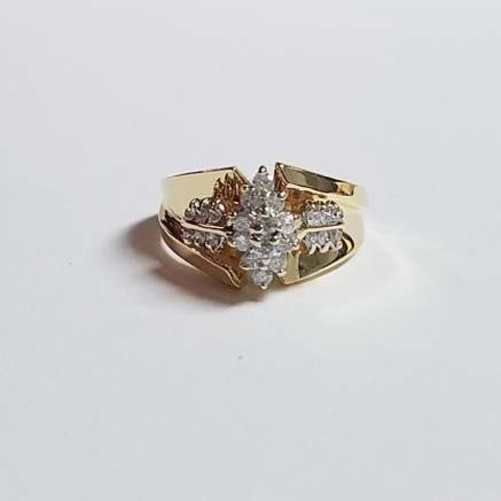 14k Gold Diamond Marquis Halo Ring