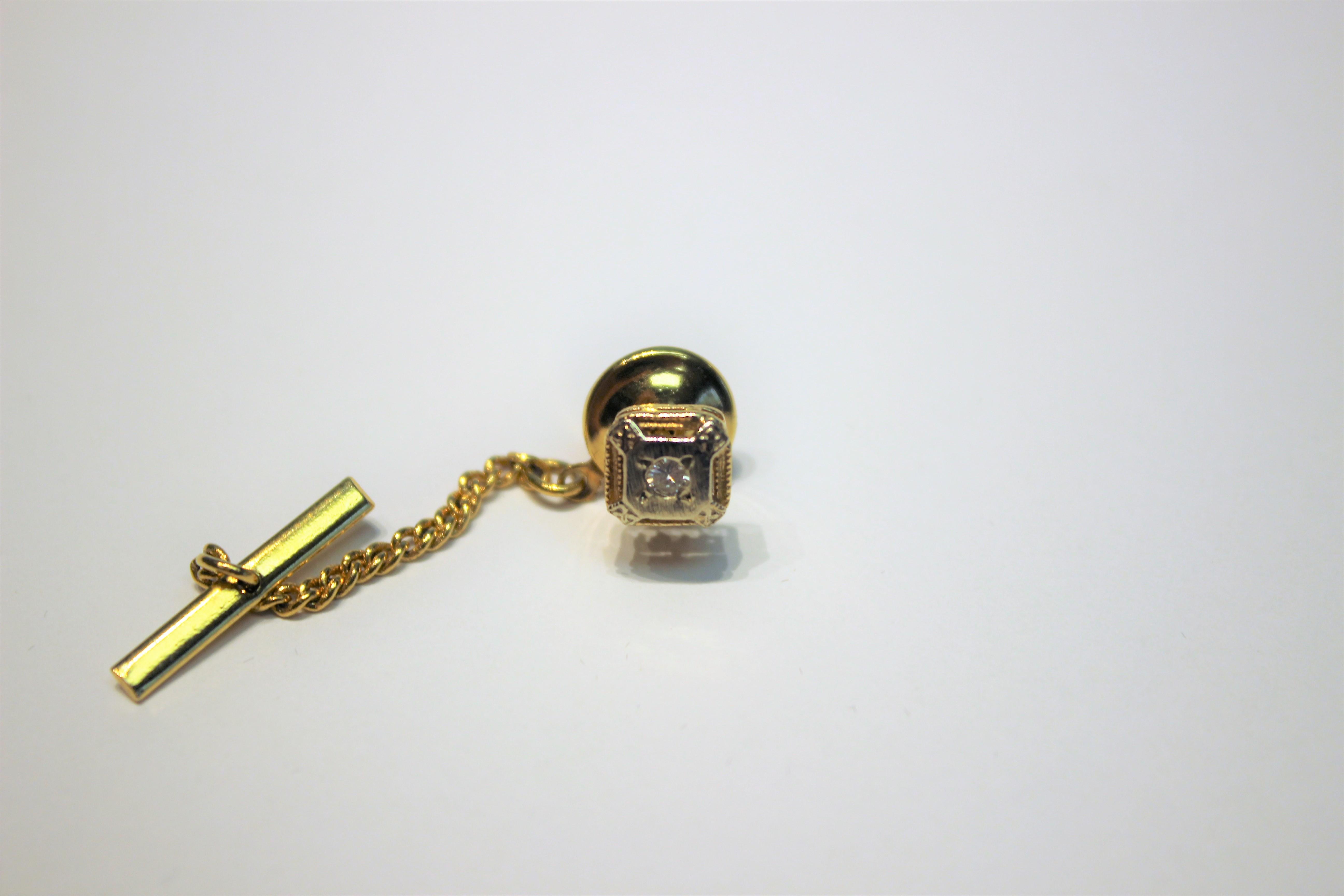 14KT Gold Diamond Tie Tack