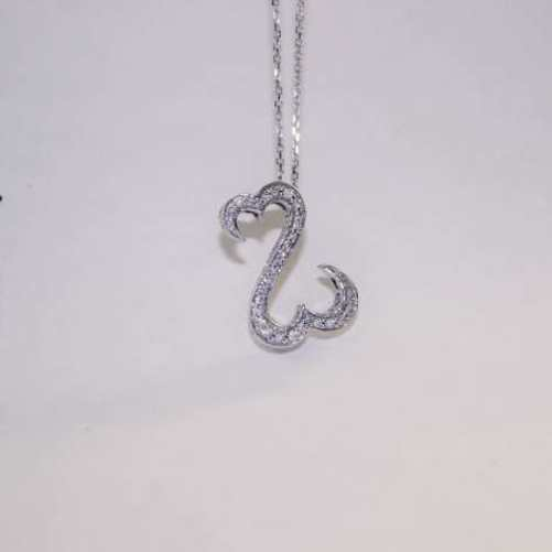LADIES WHITE GOLD CHAIN AND CHARM