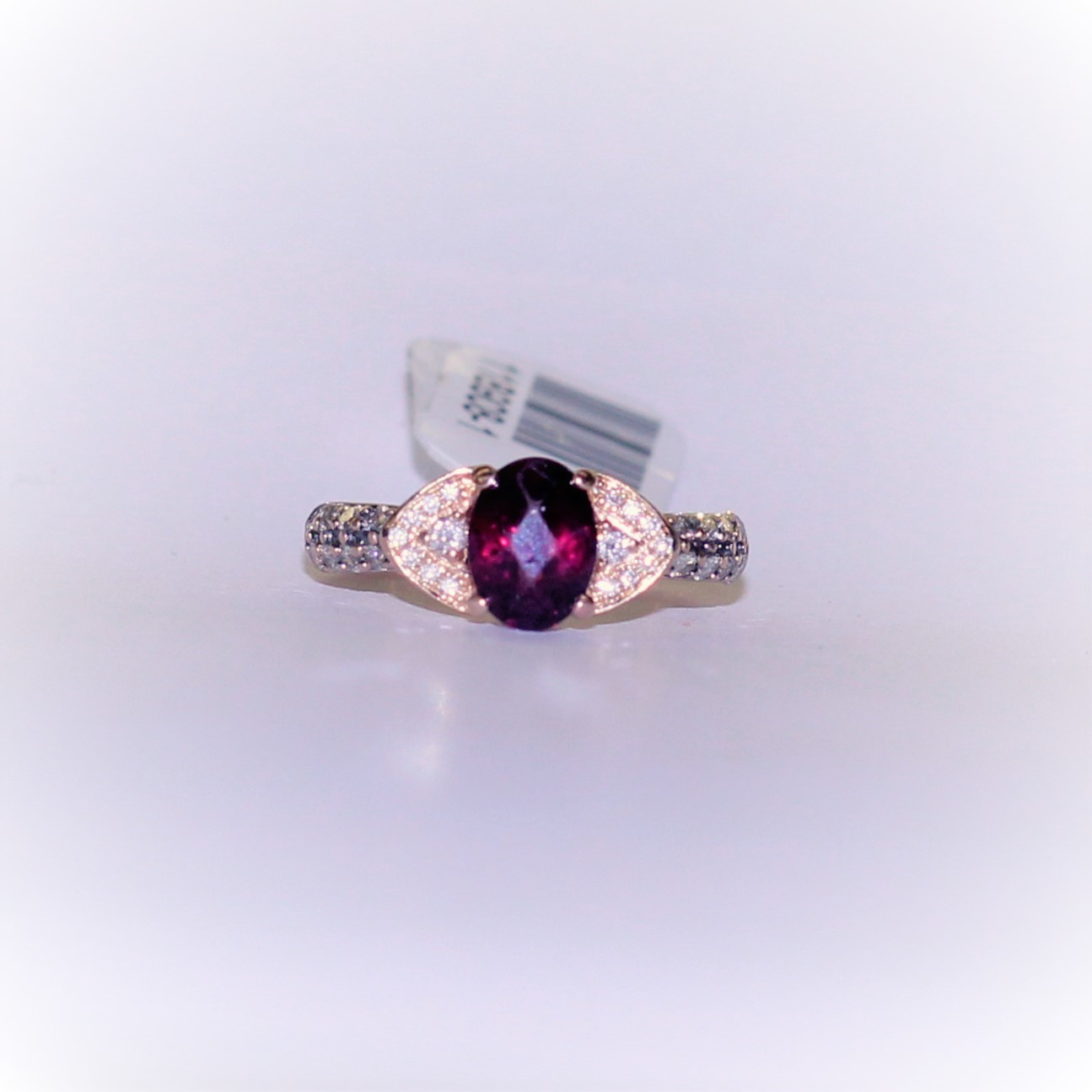 Ladies Rose Gold GARNET & DIAMOND RING