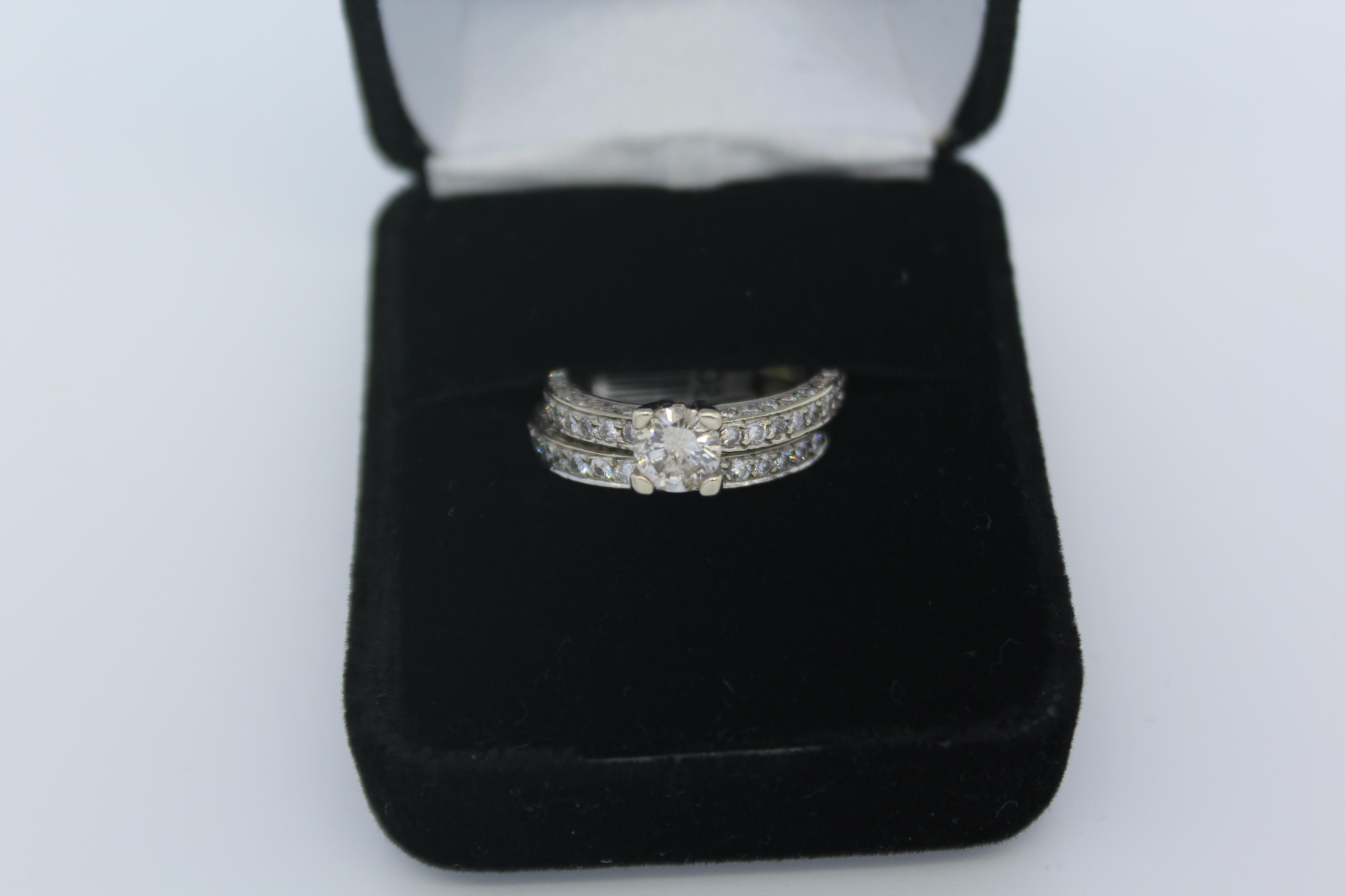 White Gold Diamond Engagement/Wedding Ring Set