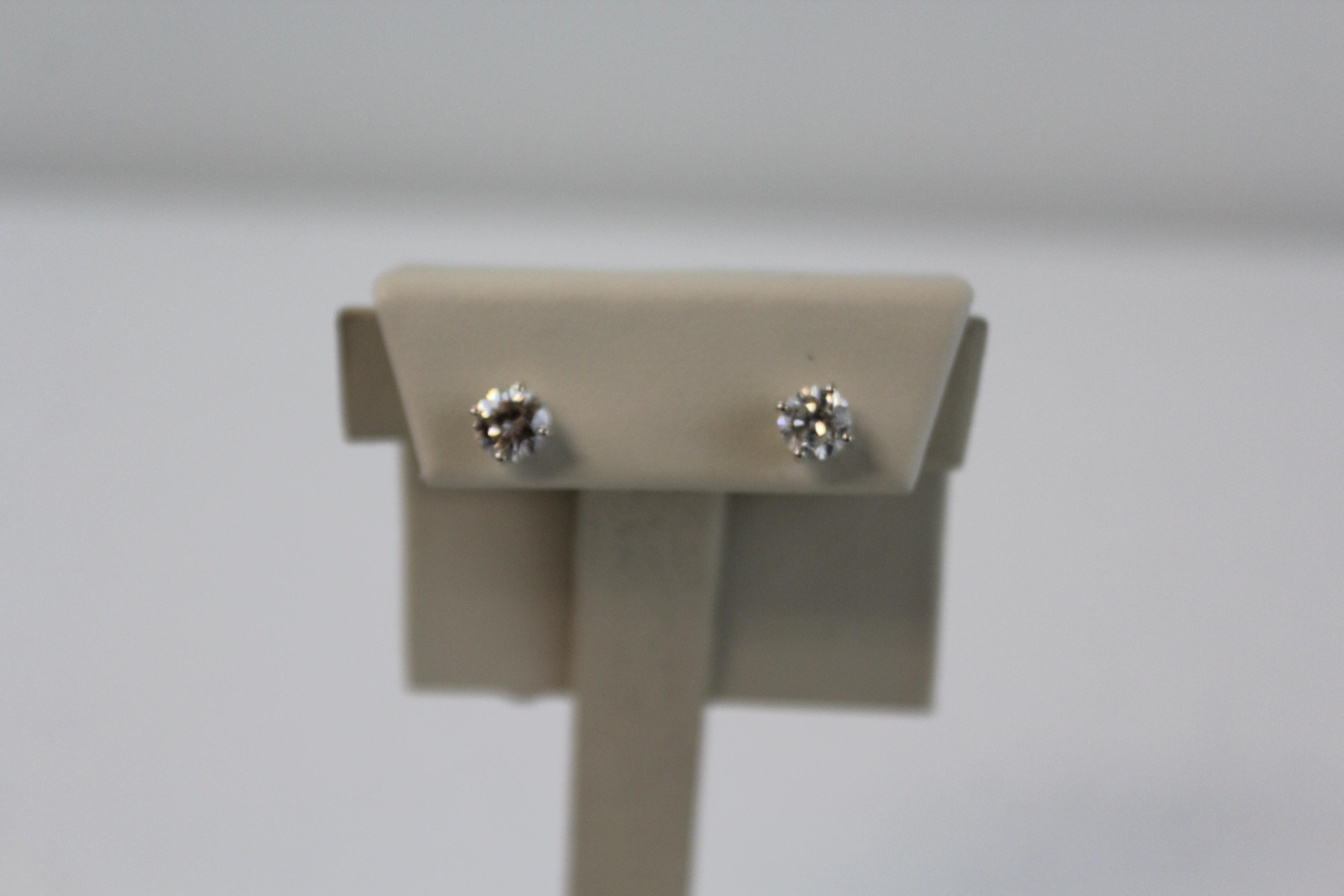 14K White Gold & Diamond Earrings