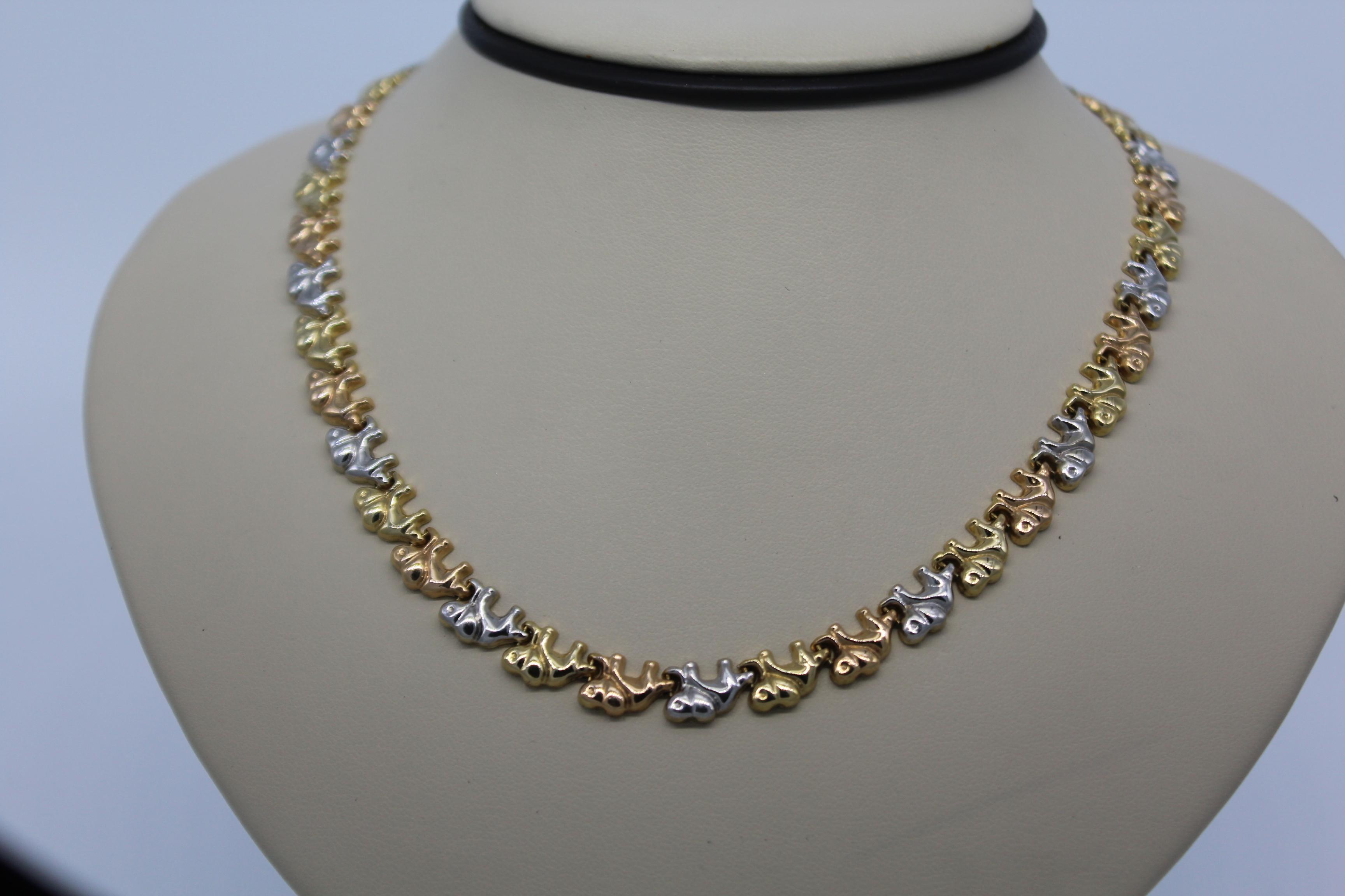 Tri-Color Elephant Gold Necklace