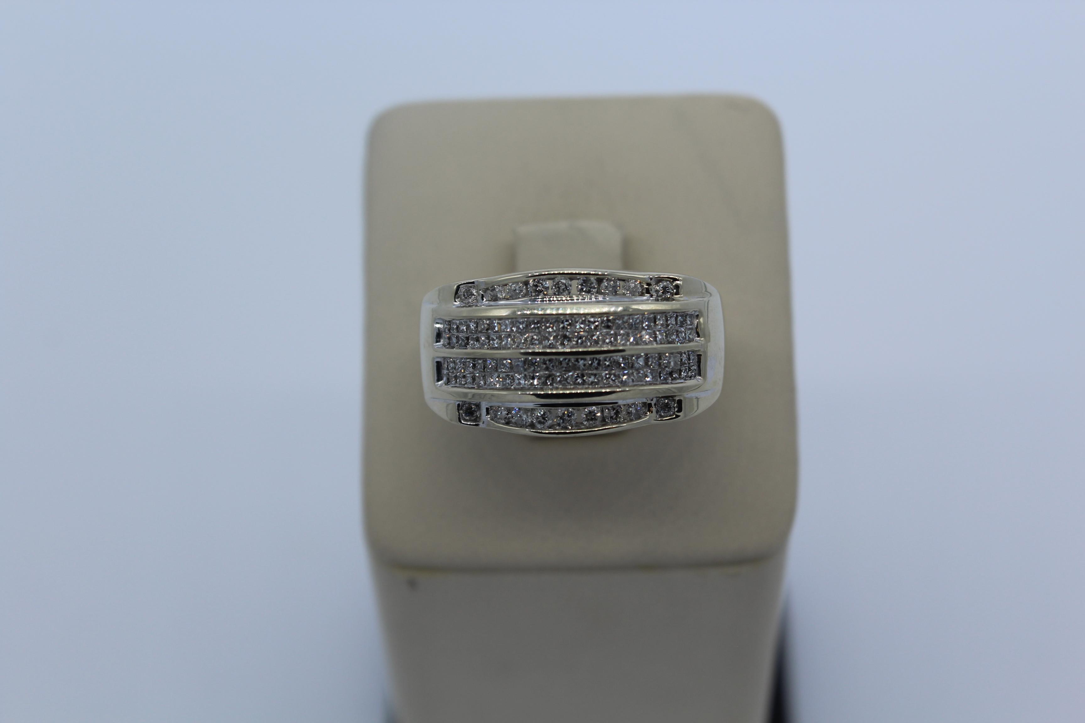 14K White Gold Men's Diamond Ring