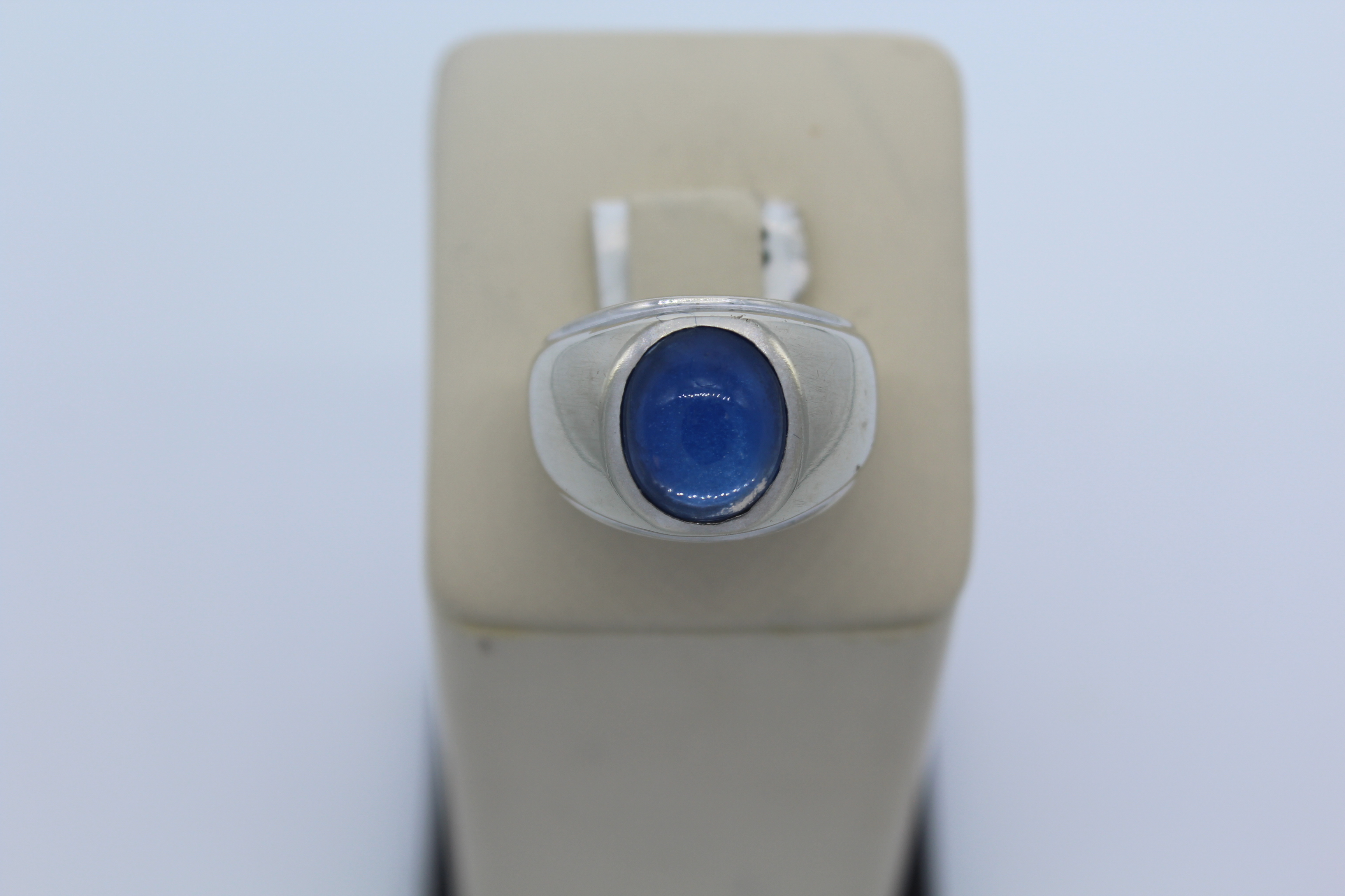 14k White Gold with Blue Stone Men's Ring