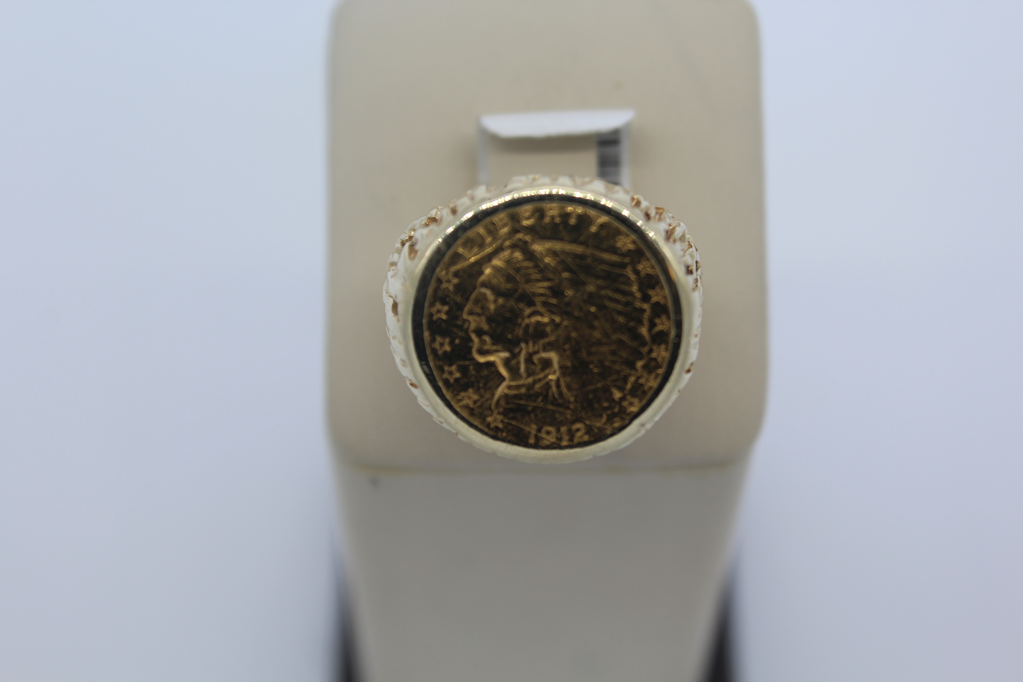 14K Yellow Gold Men's Coin Ring