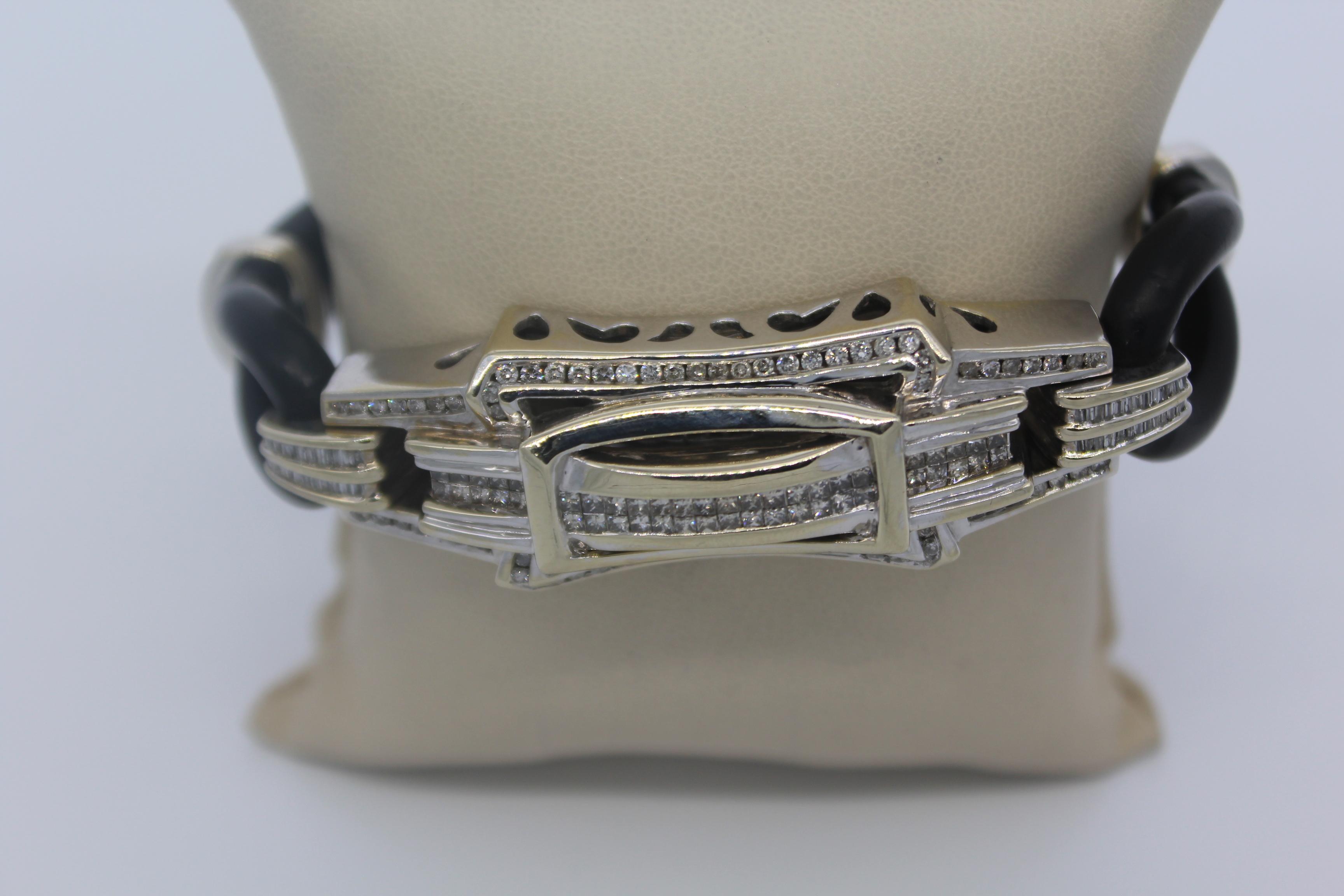 14K White Gold & Diamond Men's Bracelet