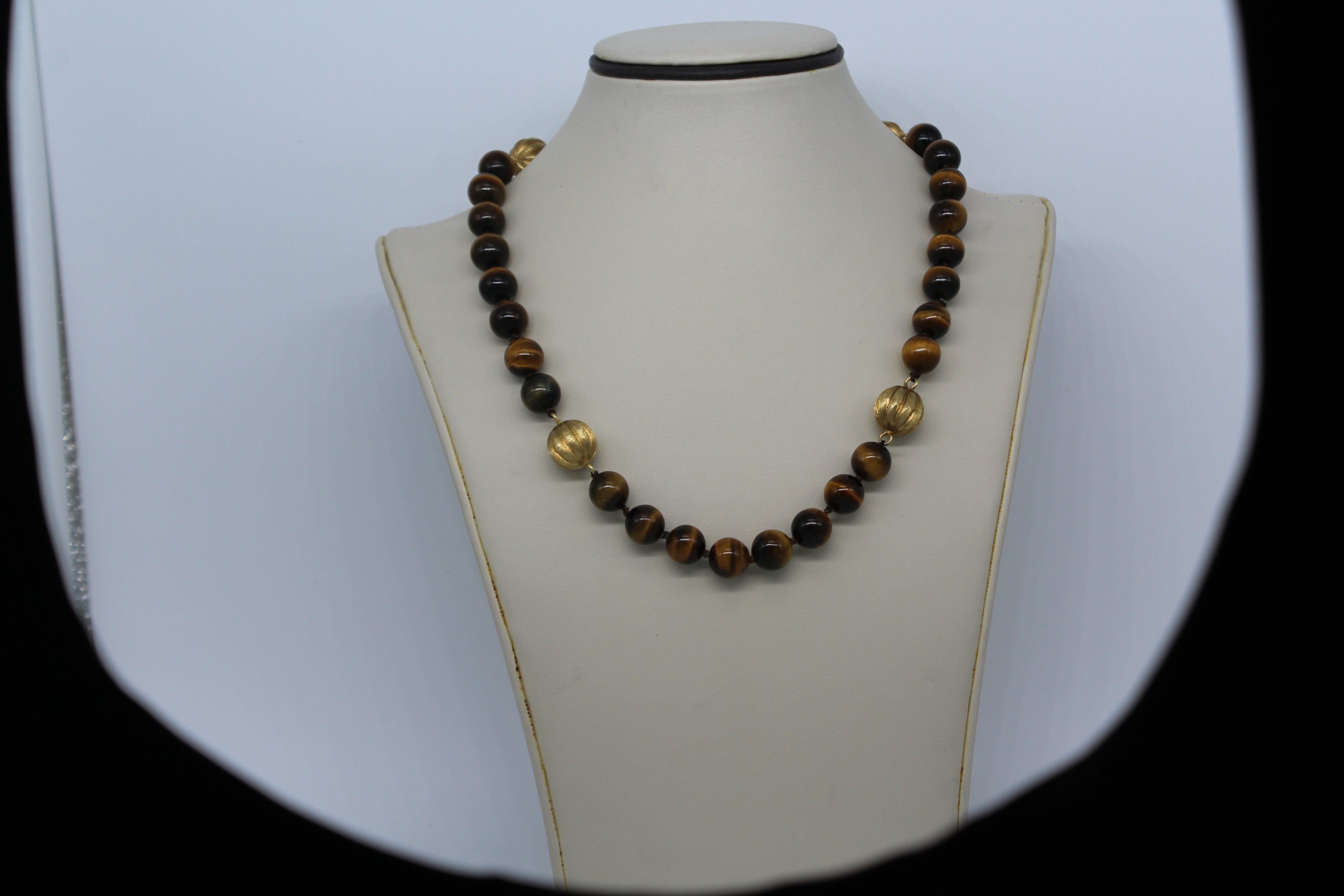 14k Yellow Gold & Tiger Eye Beaded Necklace