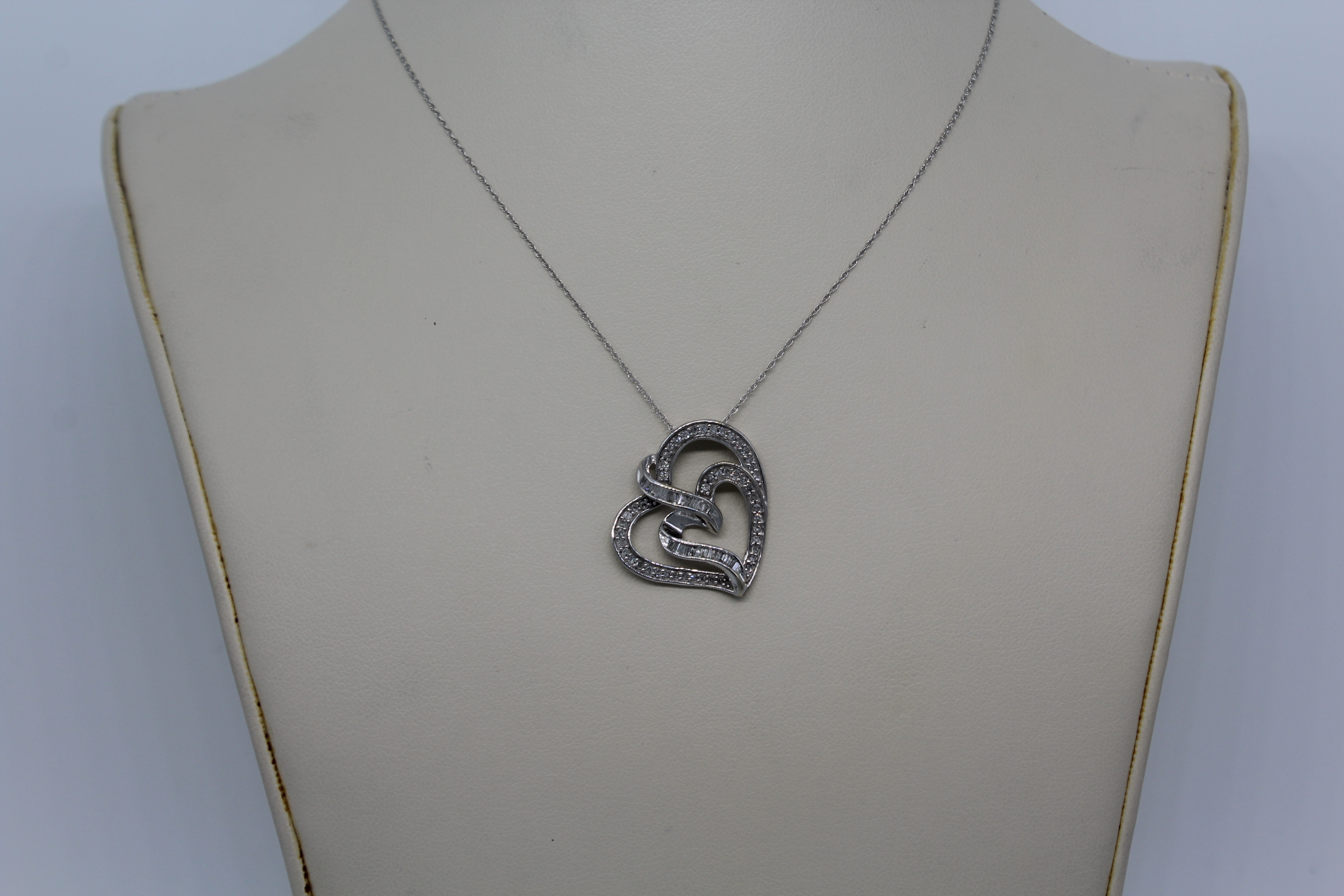 10K White Gold & Clear Stones Heart Shape Necklace