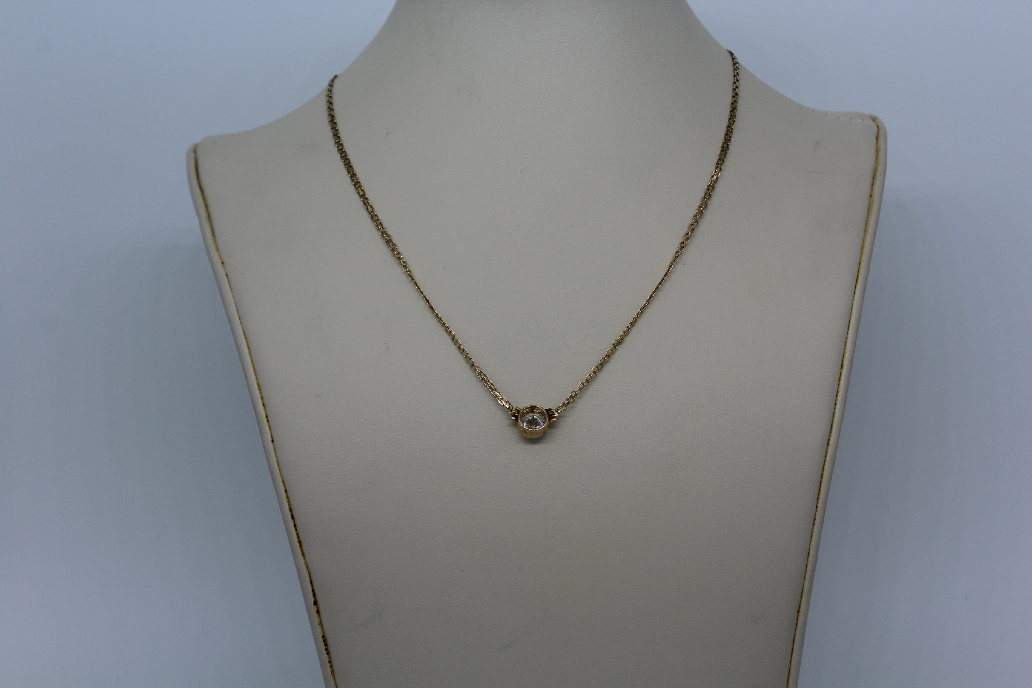 14K Yellow Gold with Clear Stone Necklace