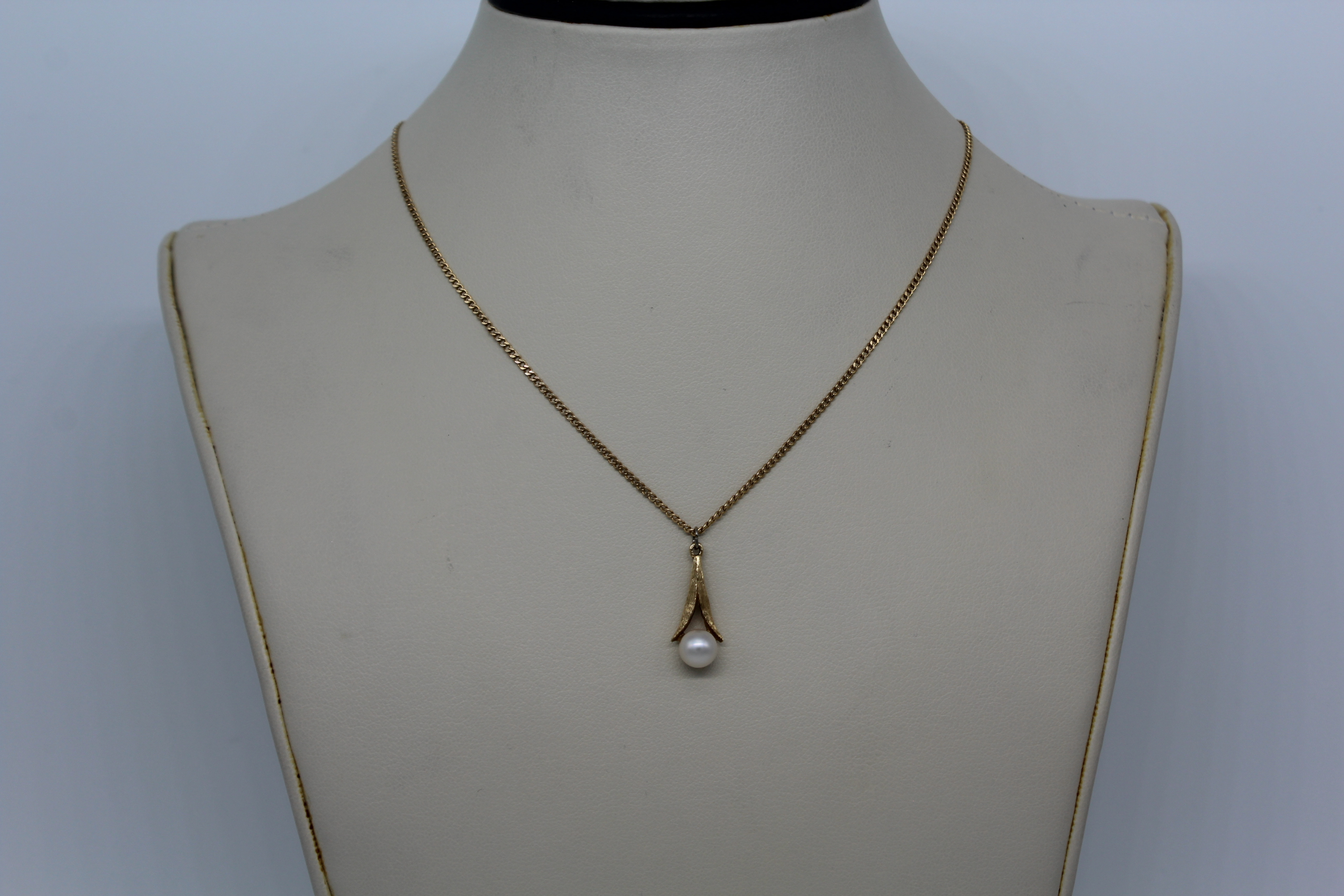 14K Yellow Gold with White Stone Necklace