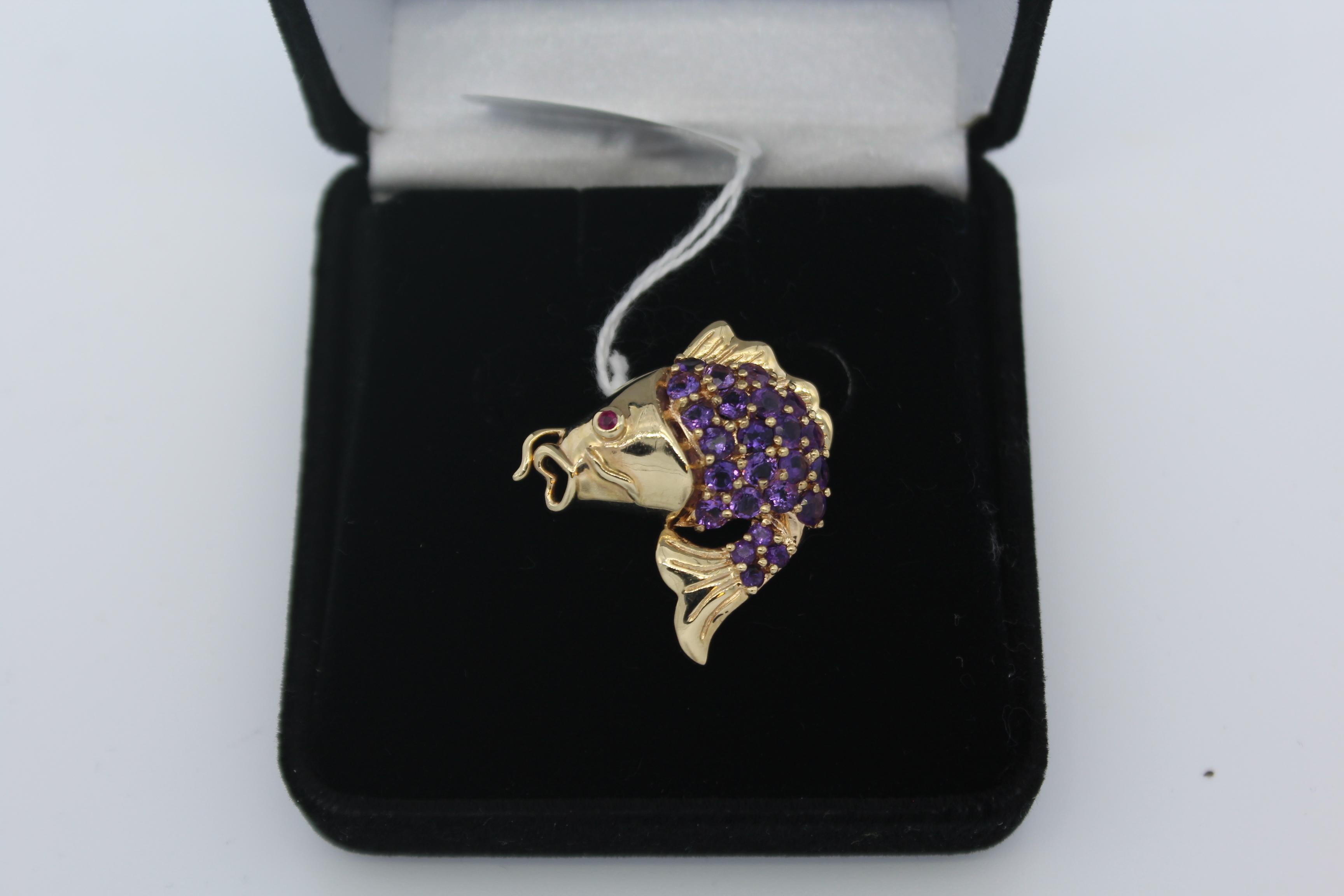 14K Yellow Gold with Purple Stones Fish Pendant