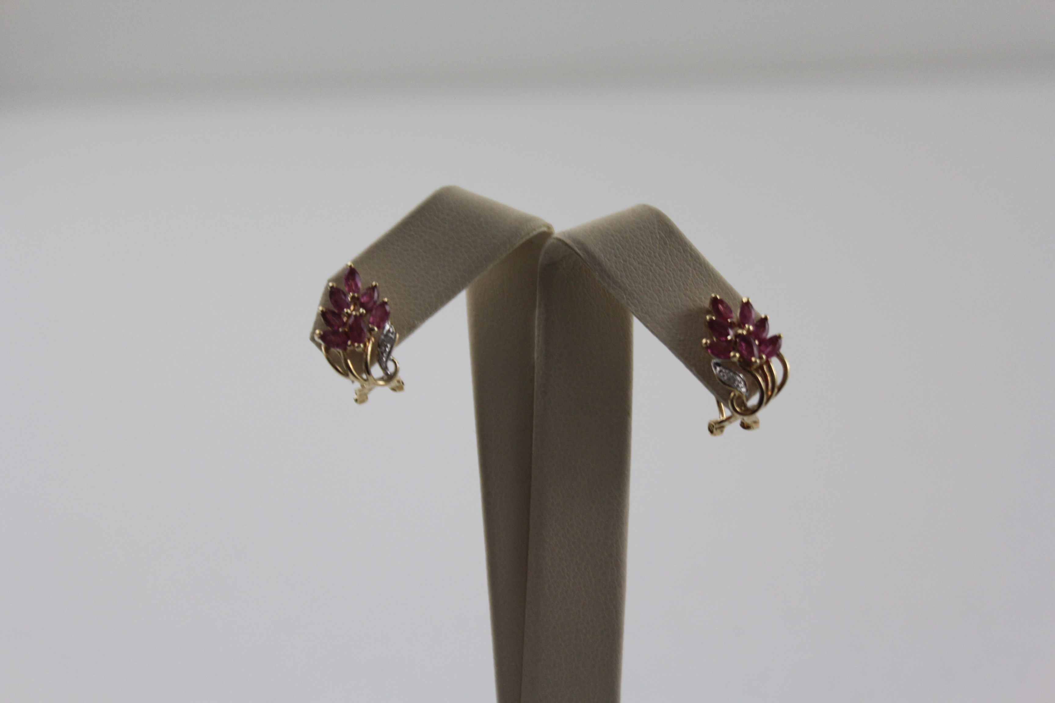 14K Yellow Gold with Pink Stones Earrings