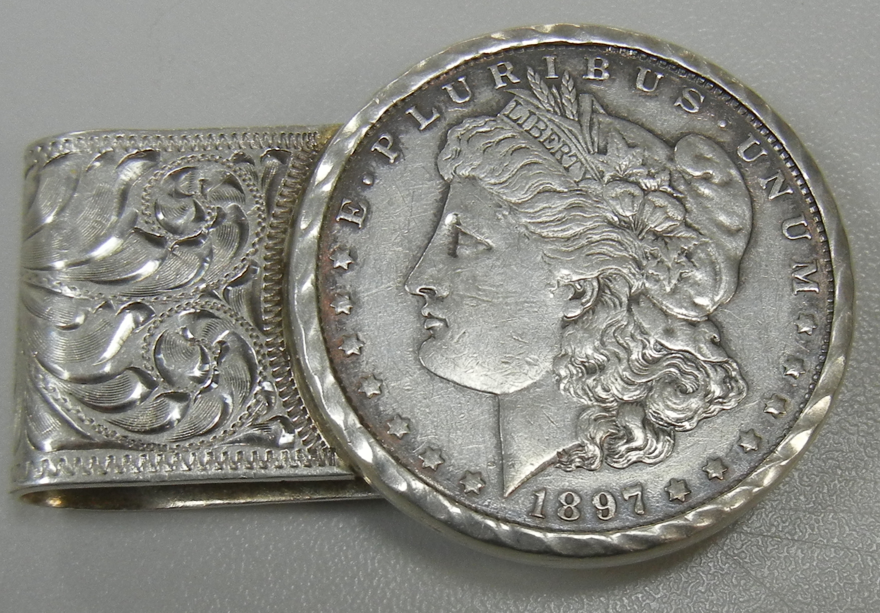 MONEY CLIP WITH 1897 SILVER DOLLAR ALL STERLING SILVER