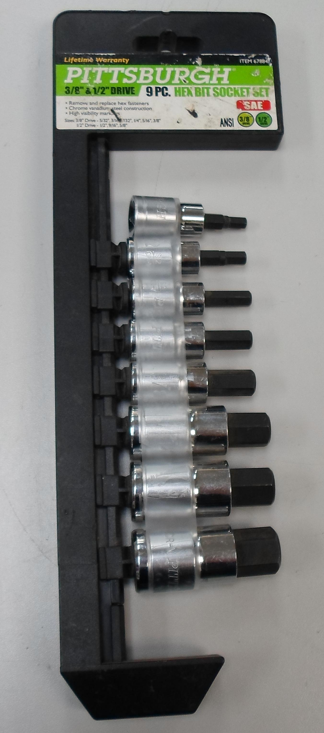 PITTSBURGH - 67884 - HEX BIT SOCKET SET - 9 PC ** MISSING PC ** 3/8