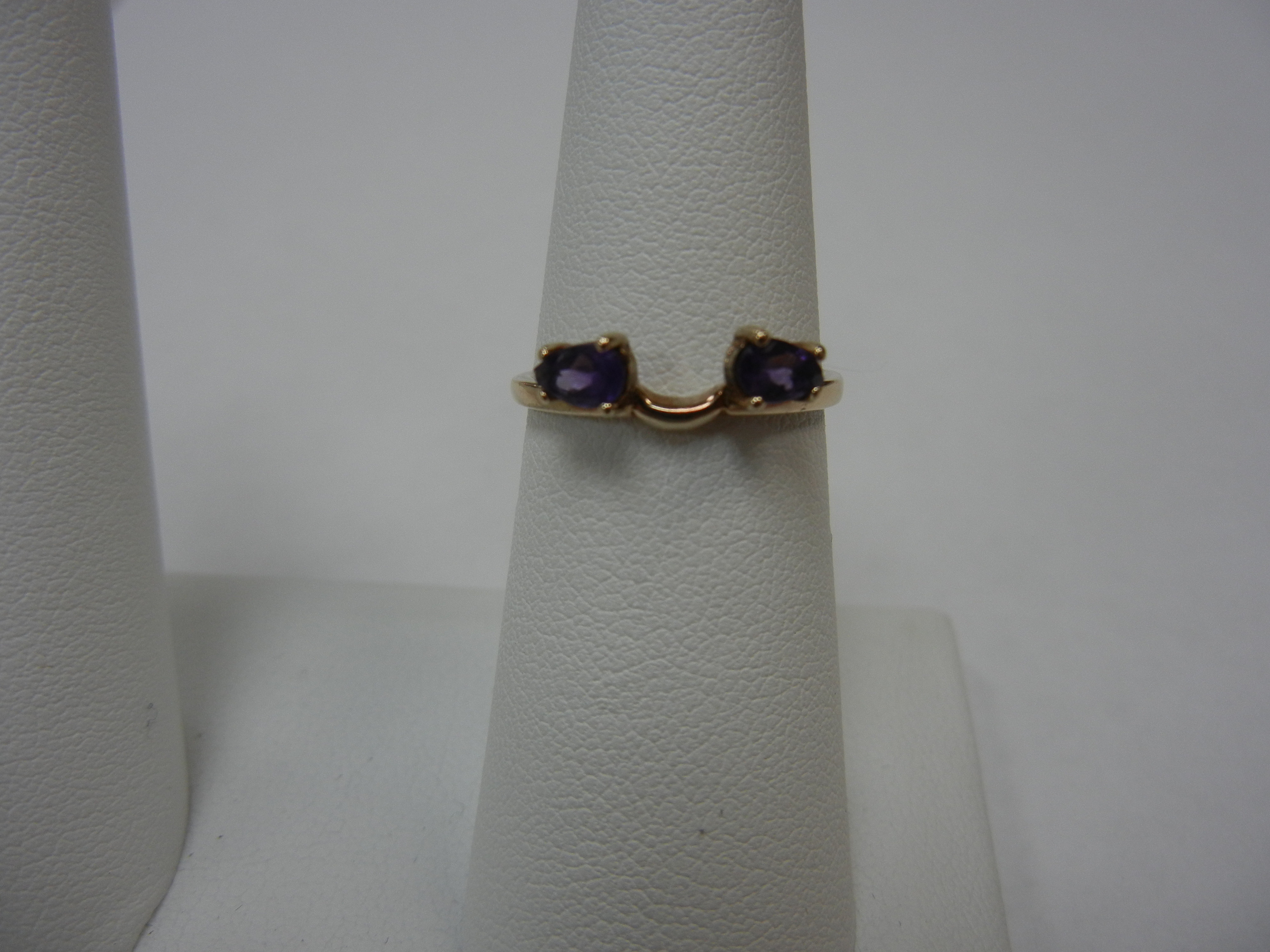 Size 6 WRAP RING WITH PEAR SHAPED PURPLE STONE ON EACH SIDE