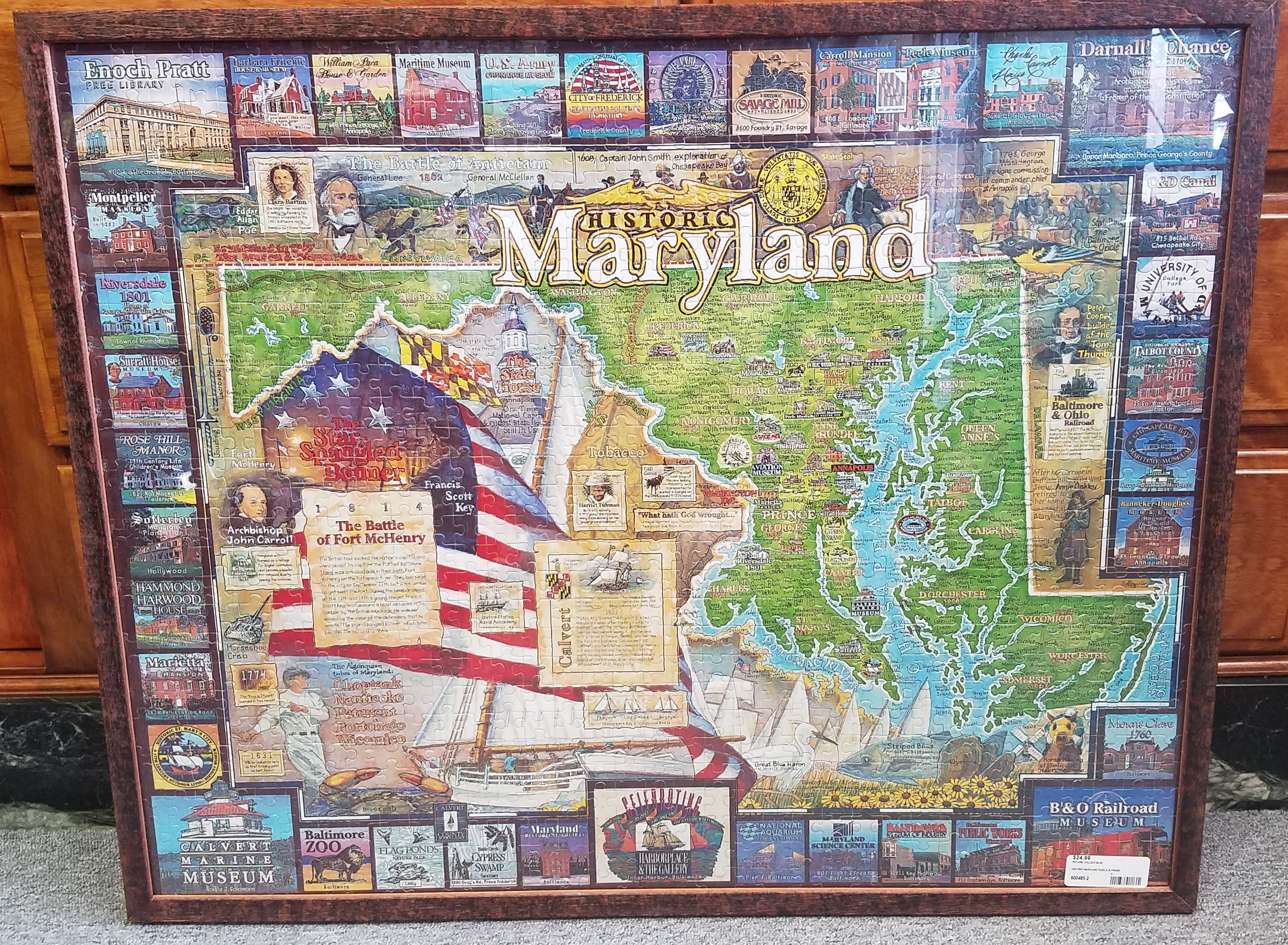 framed historic maryland puzzle