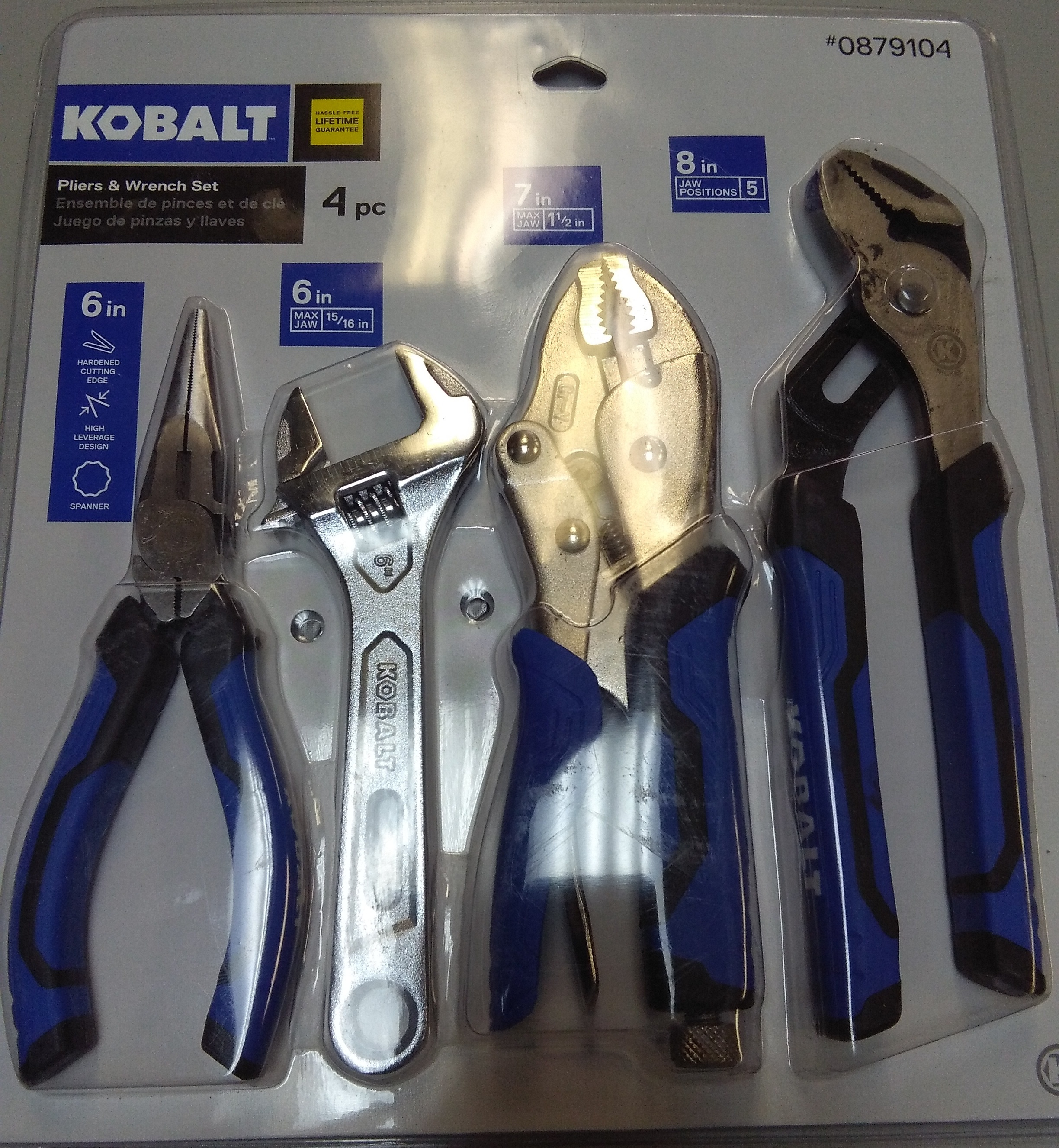 Kobalt 4 Piece Pliers and Wrench Set