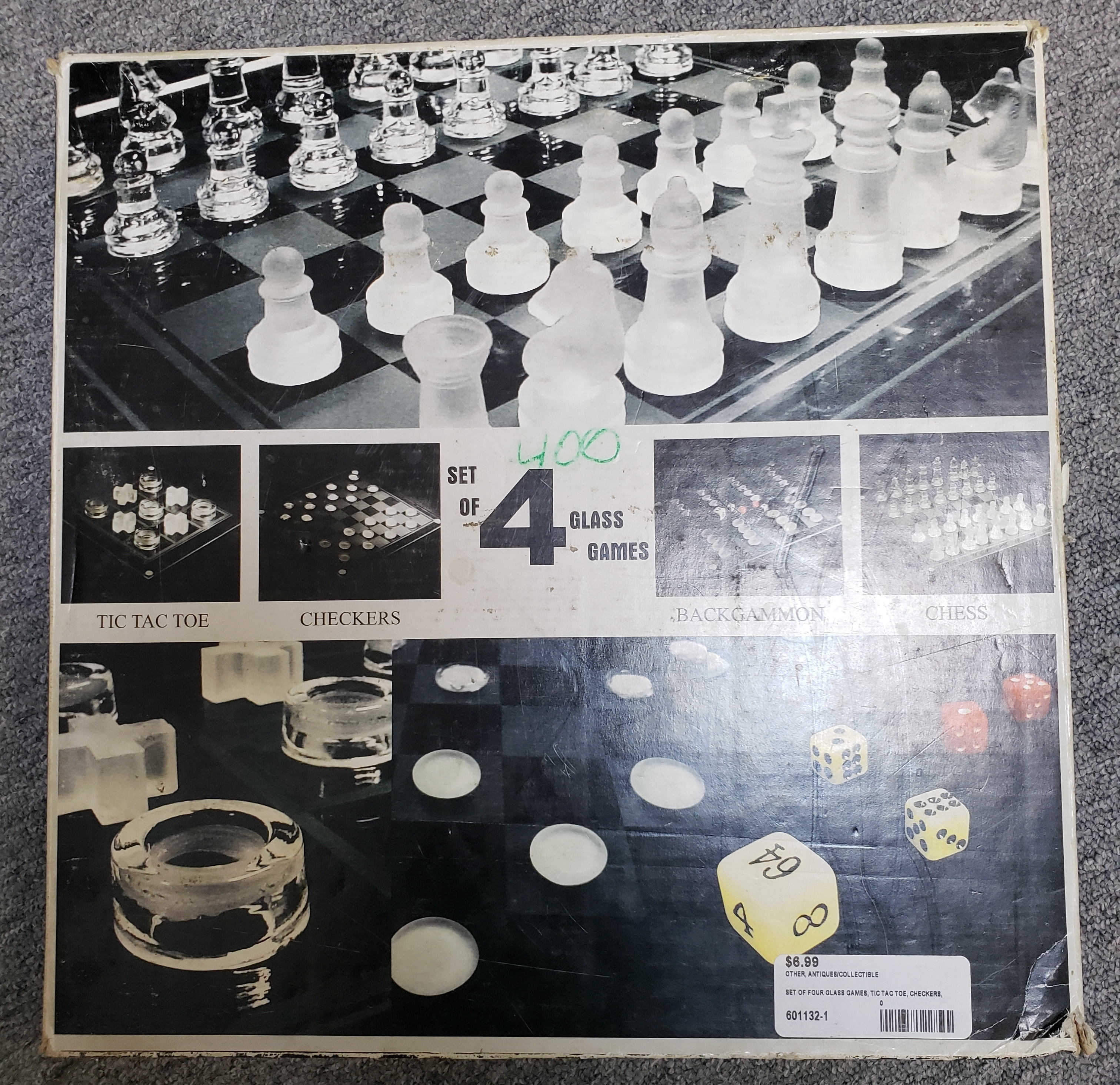 SET OF FOUR GLASS GAMES; TIC TAC TO, CHECKERS, BACKGAMMON, & CHESS