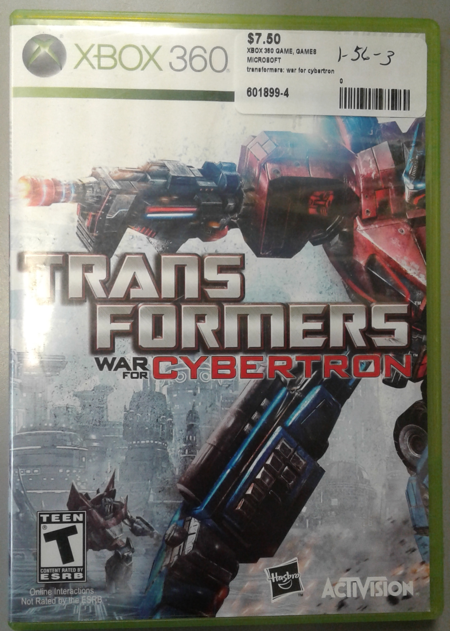 XBOX 360 TRANSFORMERS: WAR FOR CYBERTRON