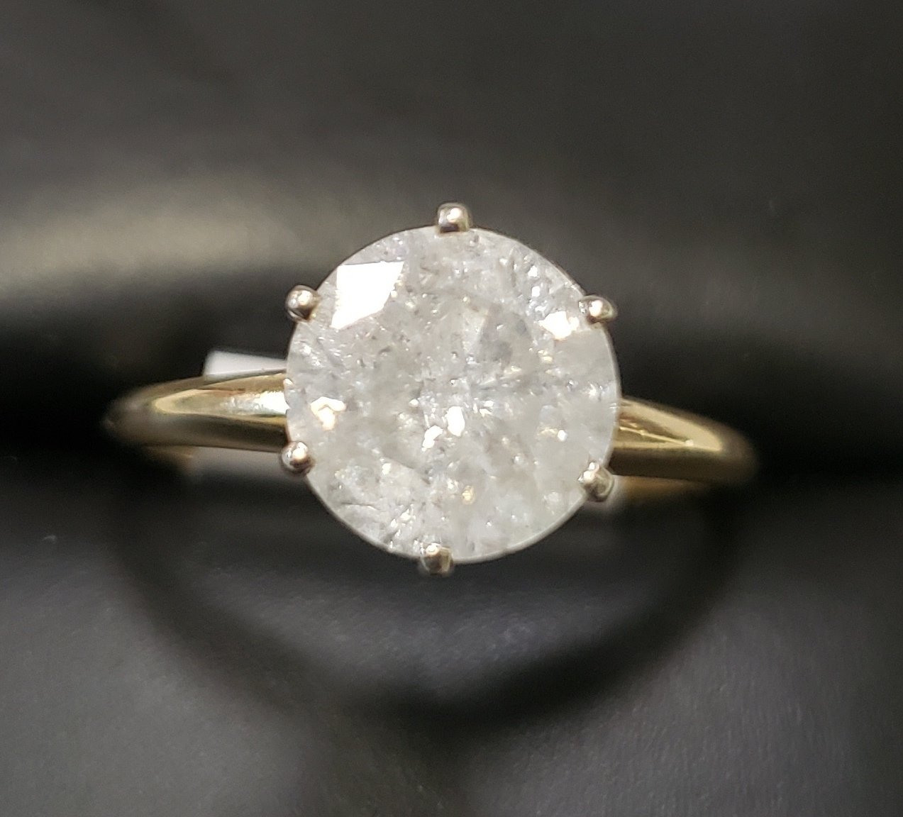 10KT SIZE 6.5 YELLOW GOLD 1-3/4 CTW ROUND SOLITAIRE DIAMOND RING