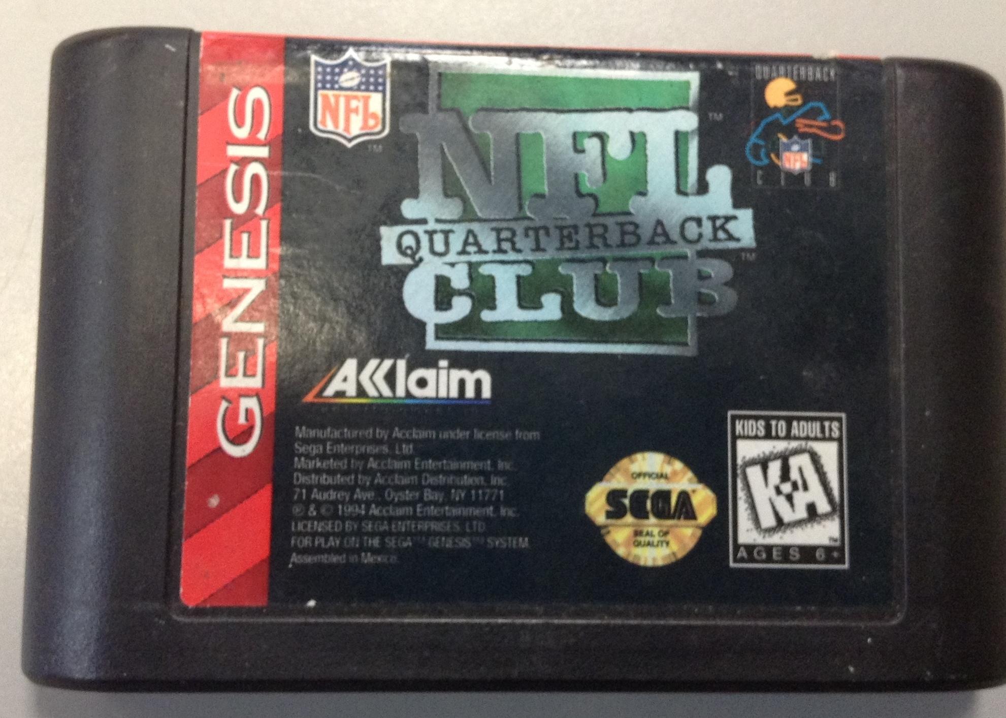 NFL QUARTERBACK CLUB, SEGA GENESIS GAME CARTRIDGE/ACCE