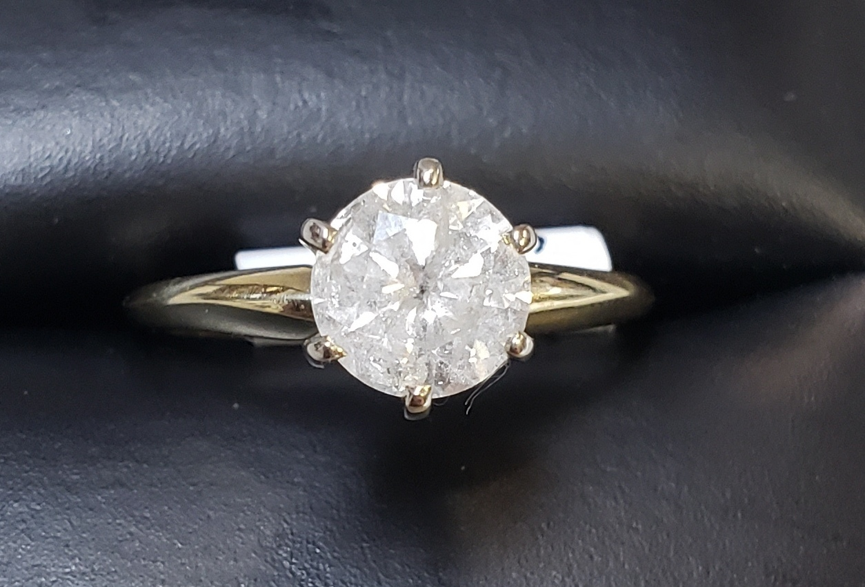 14KT -YELLOW GOLD - SIZE 6.5 - APPROXIMATELY <1 CTW SOLITAIRE DIAMOND RING