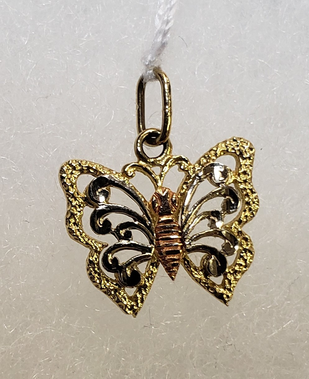 14KT - TRI TONE - BUTTERFLY CHARM