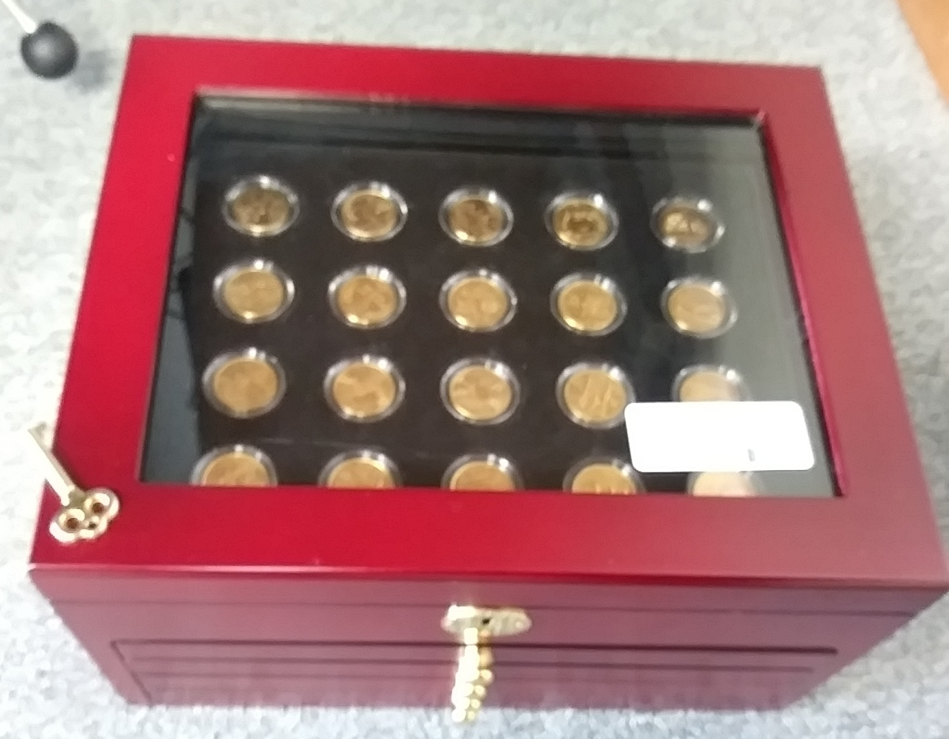 24 KARAT GOLD PLATED STATE QUARTERS W/CHERRY WOODEN CHEST