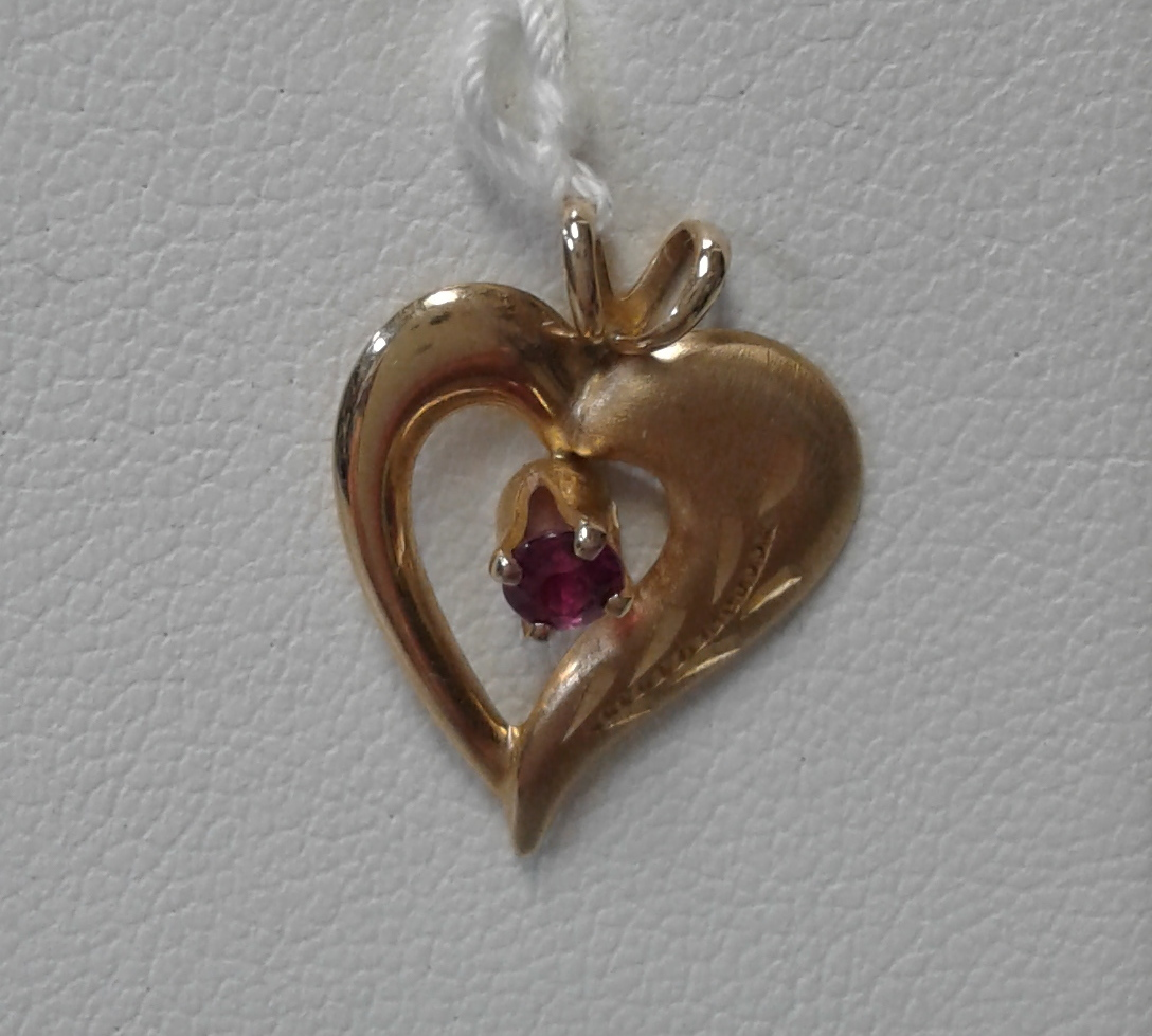 HEART CHARM WITH PINK CENTER STONE