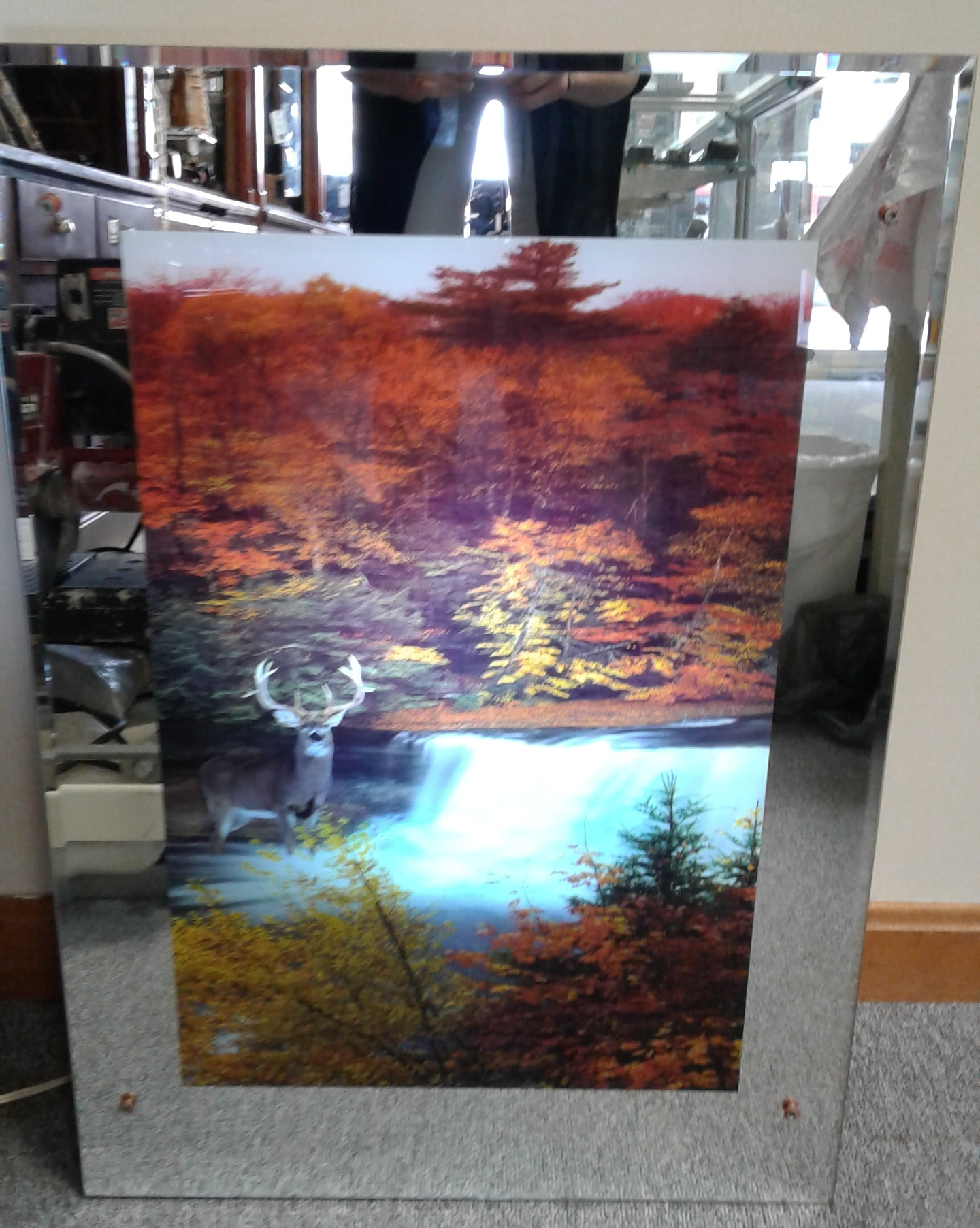MIRROR MOVING WATERFALL BACKLIT PICTURE WITH DEER SCENE