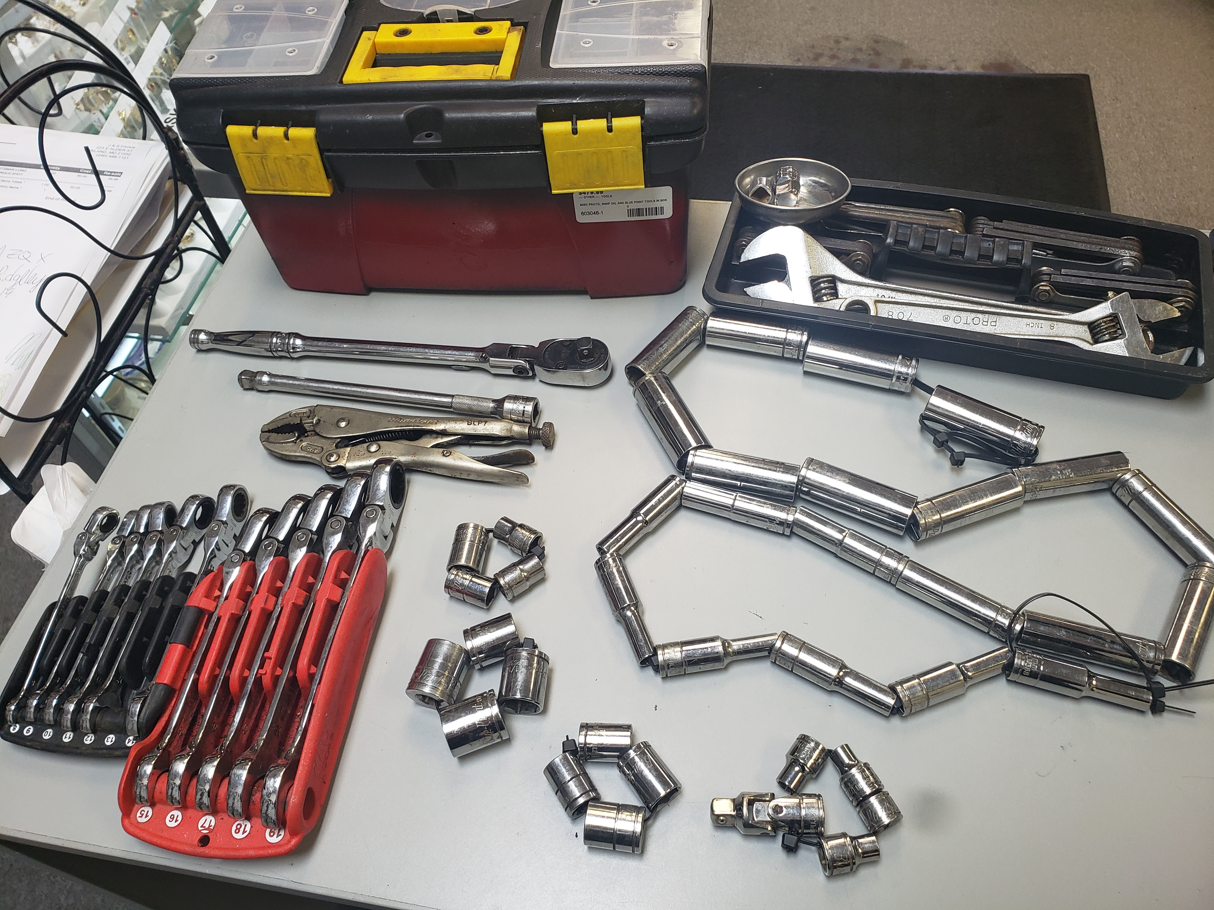 61 PC MISC BLUE POINT, SNAP ON, AND PROTO TOOLS (SEE DETAILS)