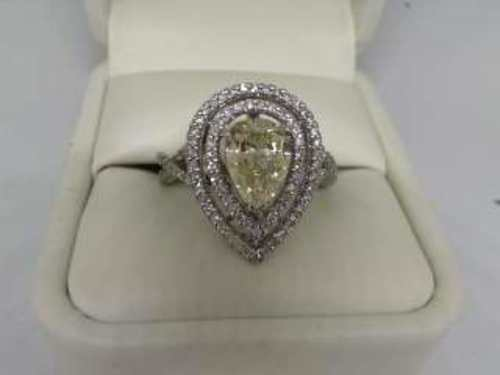 14K White Gold 2Ct Pear Cut Fancy Yellow Engagement Ring