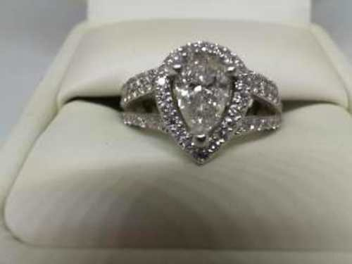 14K White Gold Halo Pear Cut 1.18 Ct Diamond Ring